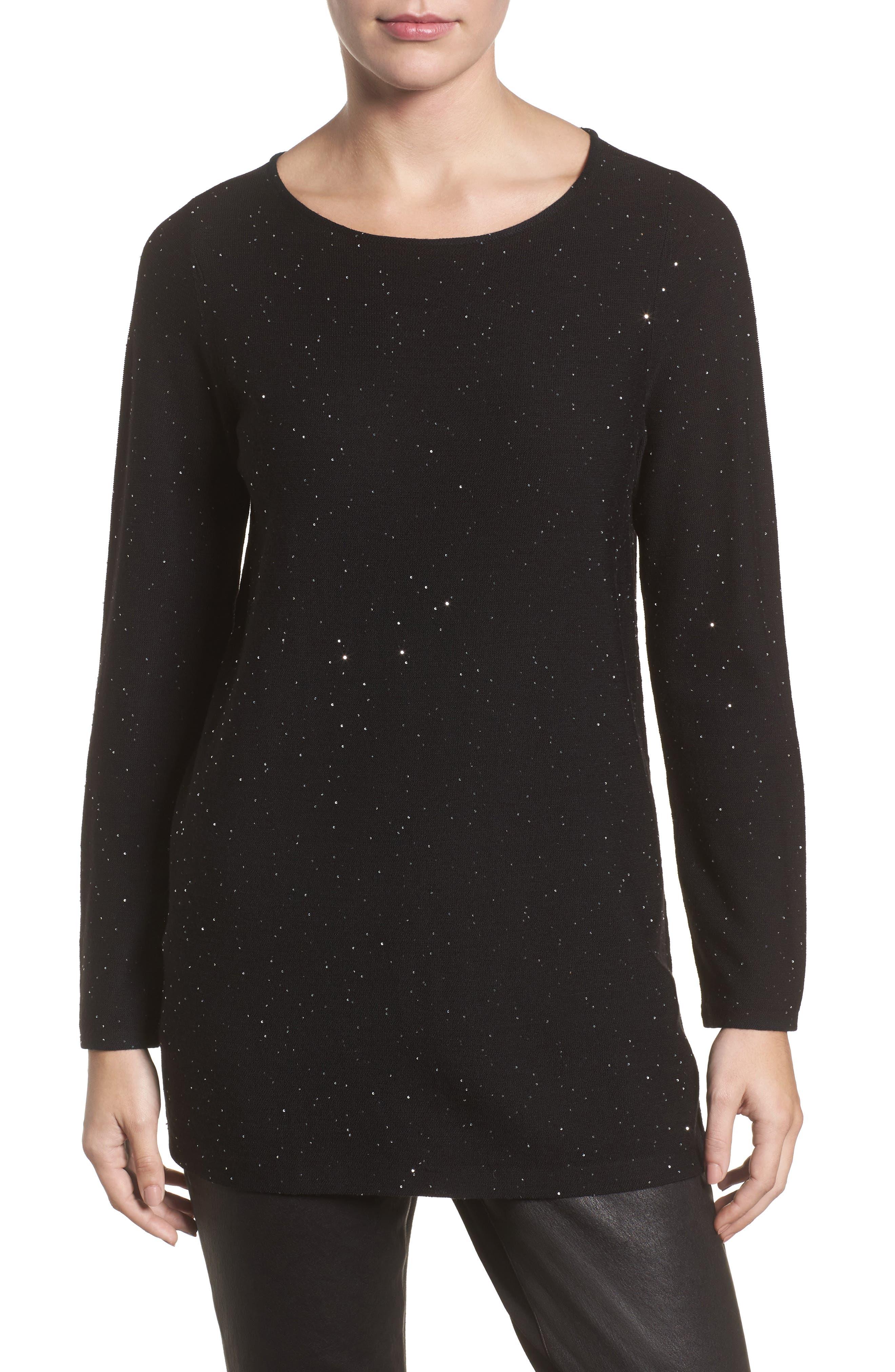 Sequin Merino Wool Sweater,                         Main,                         color, Black