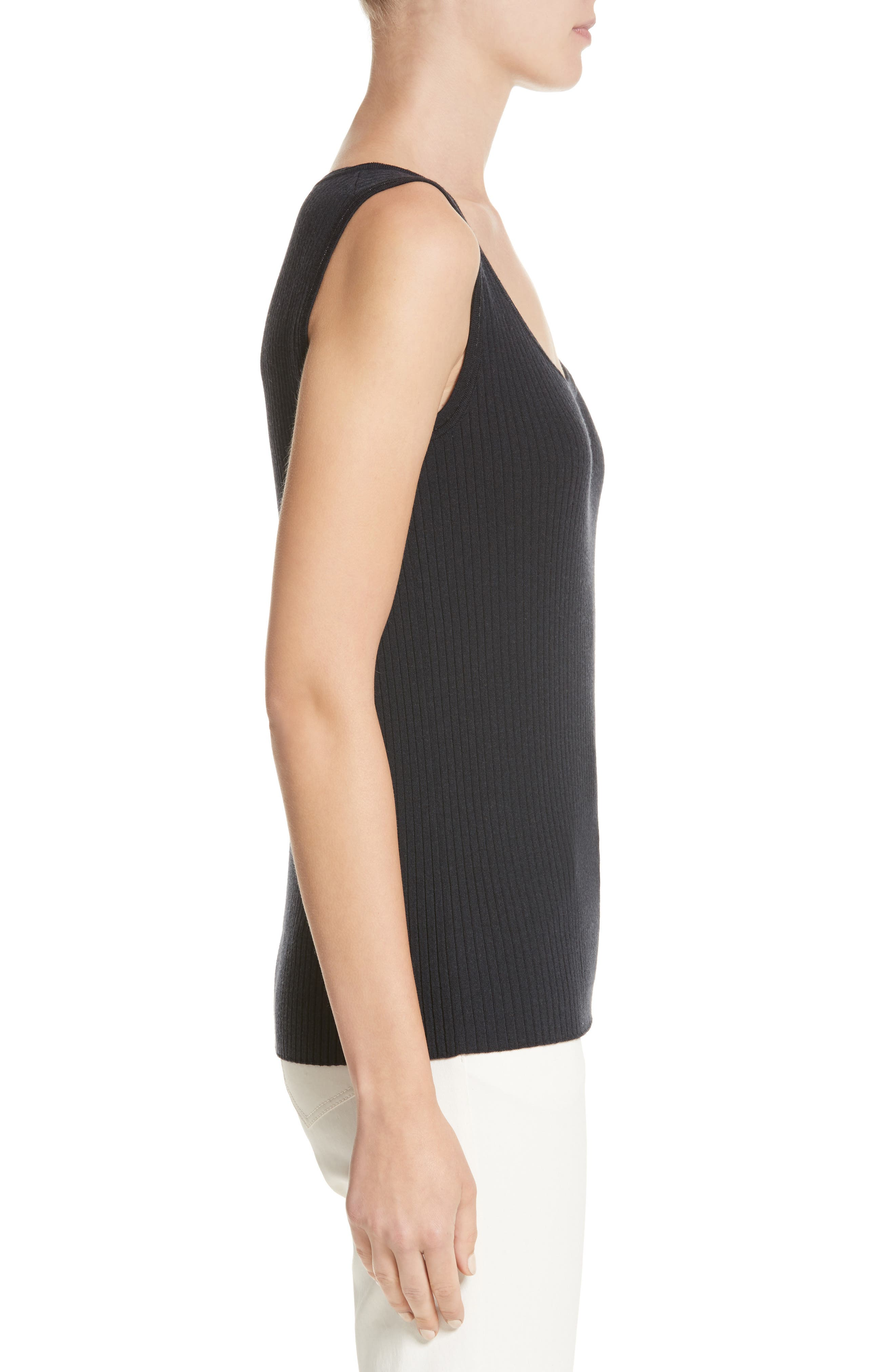 Metallic Trim Modern Ribbed Tank,                             Alternate thumbnail 3, color,                             Ink