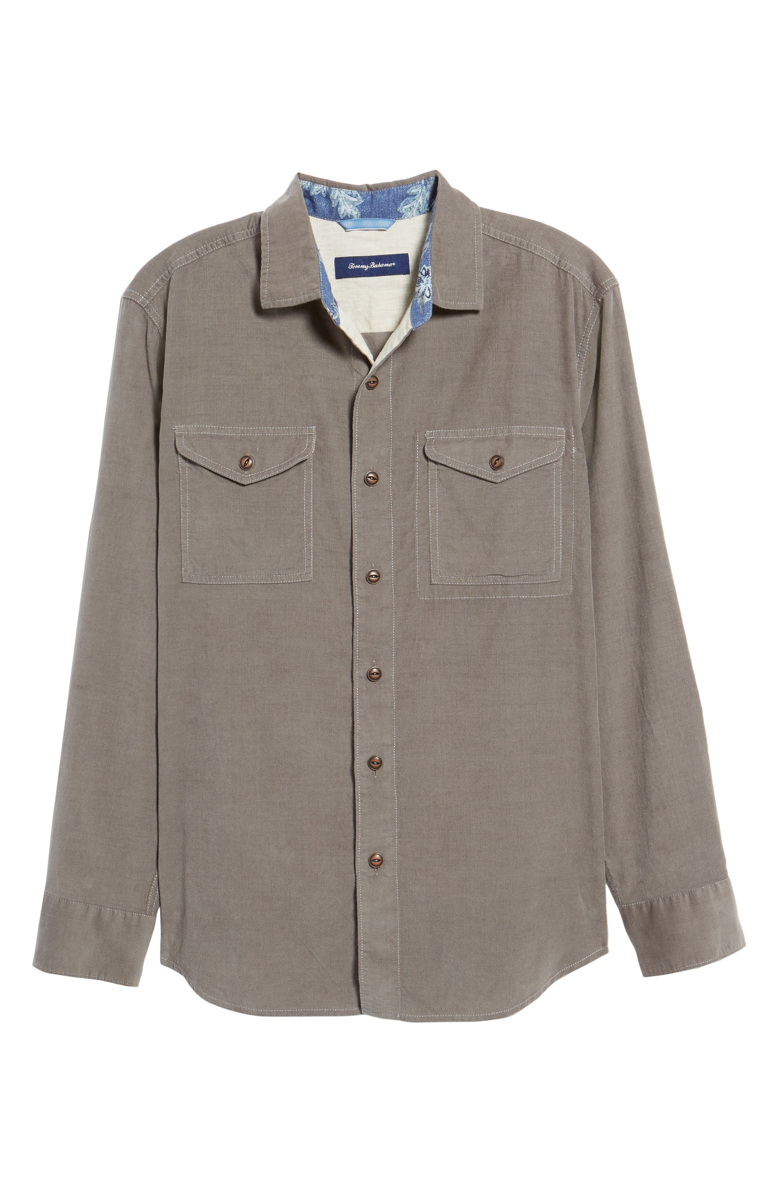 Harrison Cord Standard Fit Shirt,                             Alternate thumbnail 6, color,                             Pebble Grey