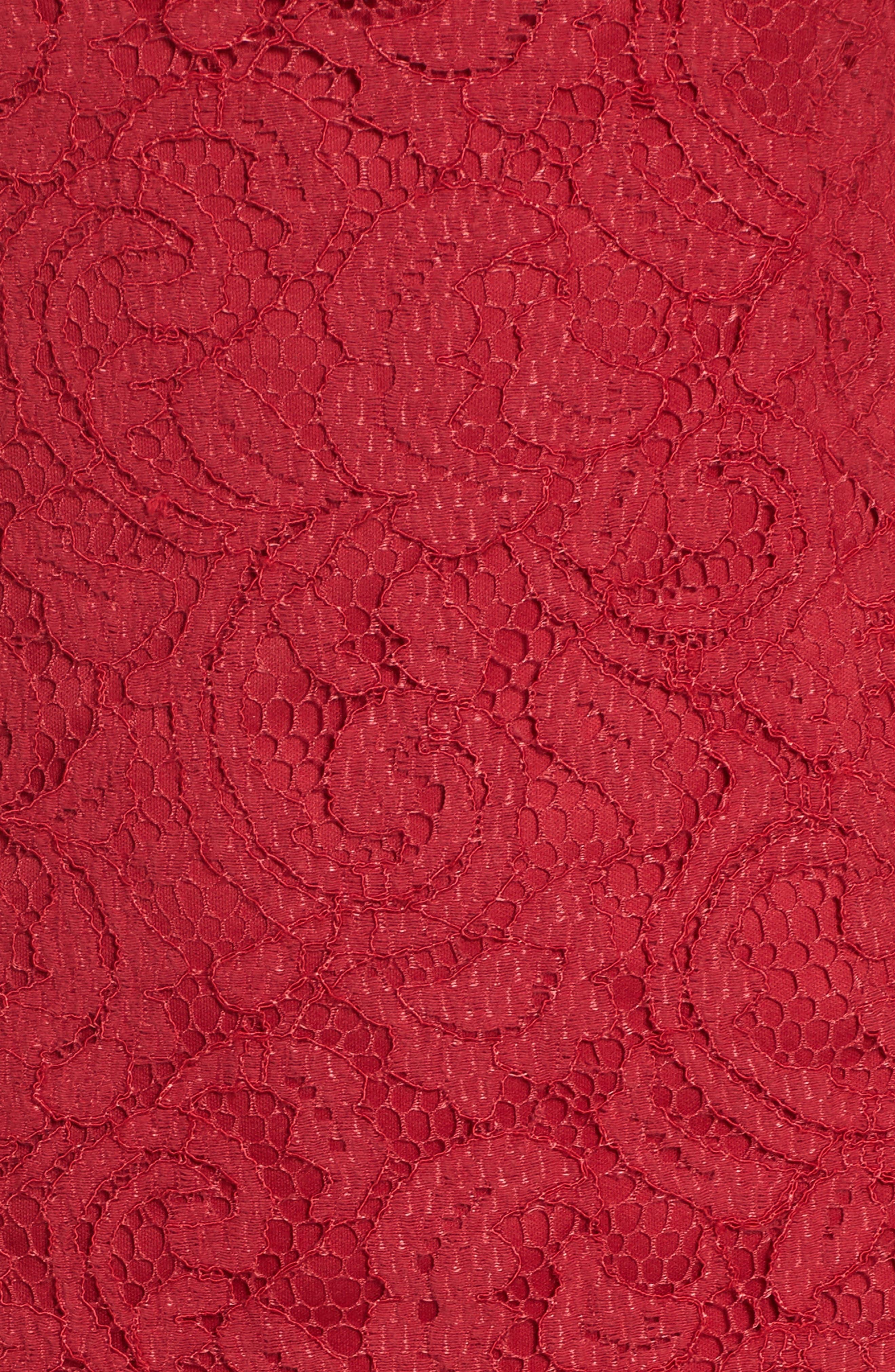 Lace Sheath Dress,                             Alternate thumbnail 5, color,                             Cherry