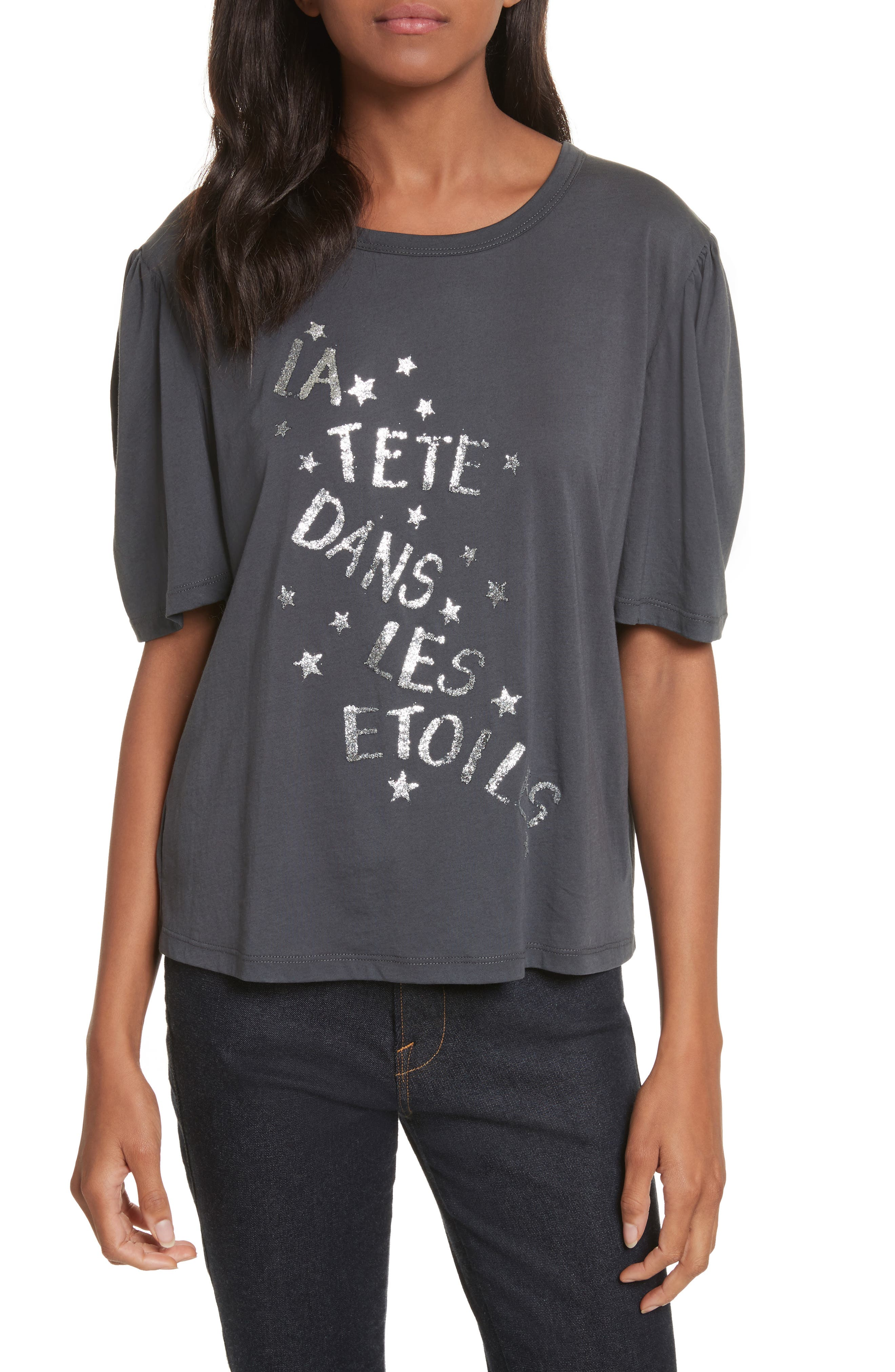 Glitter Jersey Tee,                         Main,                         color, Charcoal
