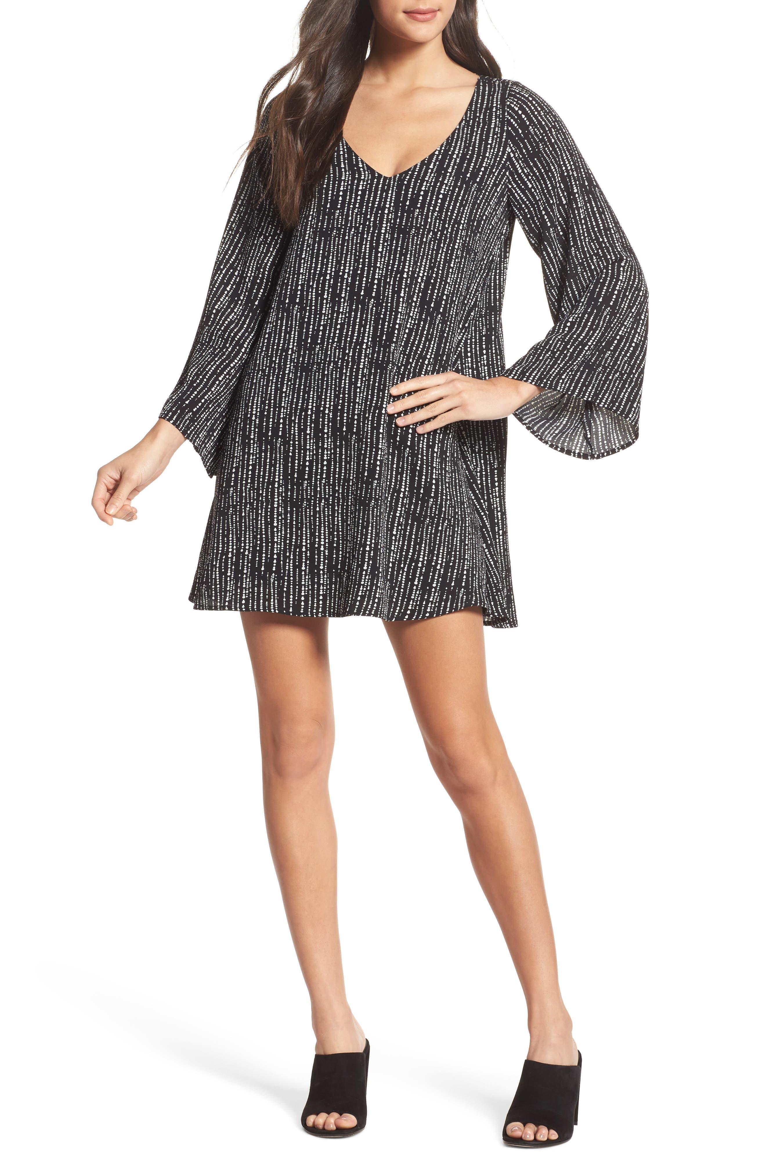 V-Neck Shift Dress,                         Main,                         color, Drizzle Print