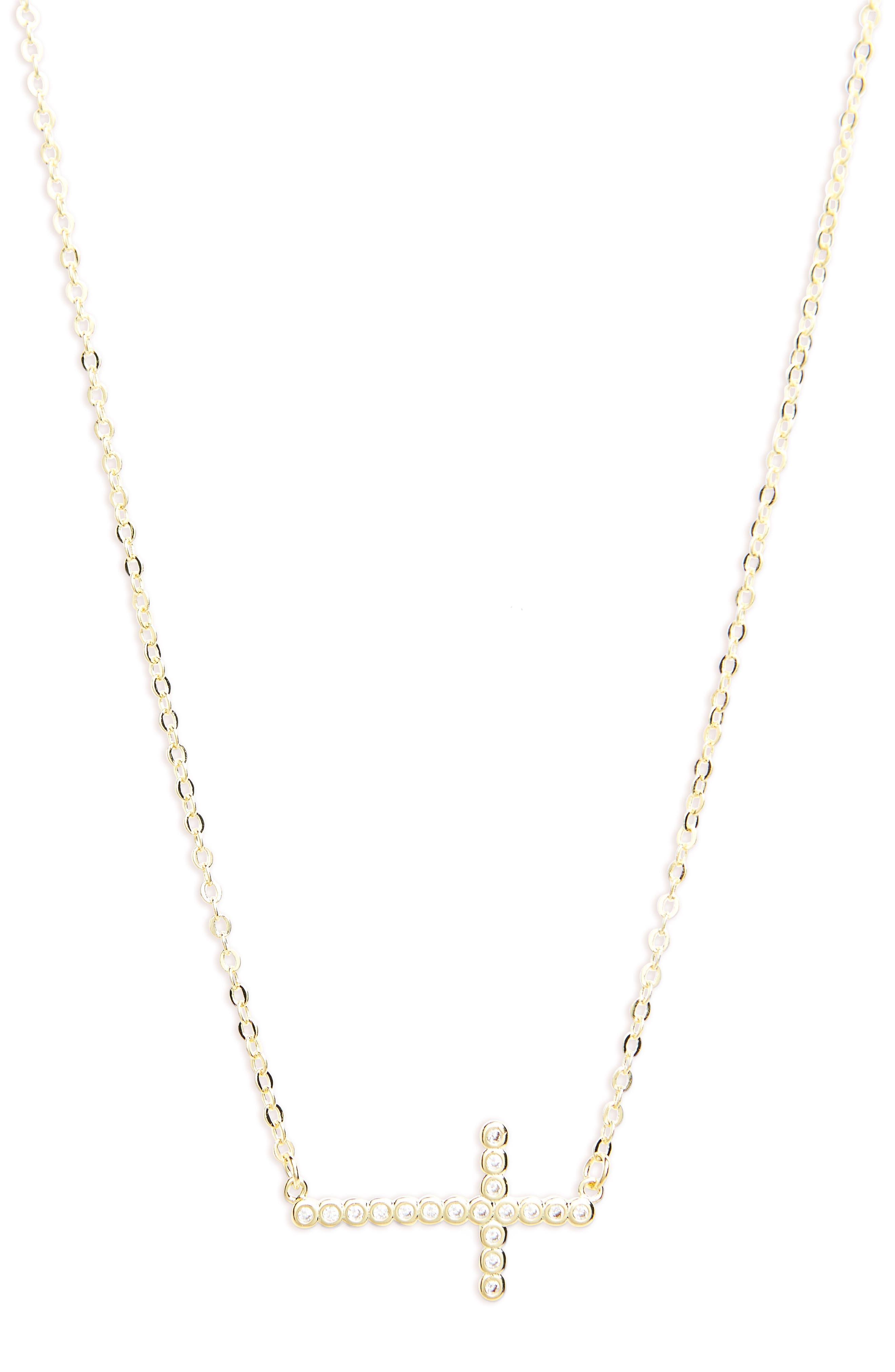 Cubic Zirconia Cross Necklace,                         Main,                         color, Gold