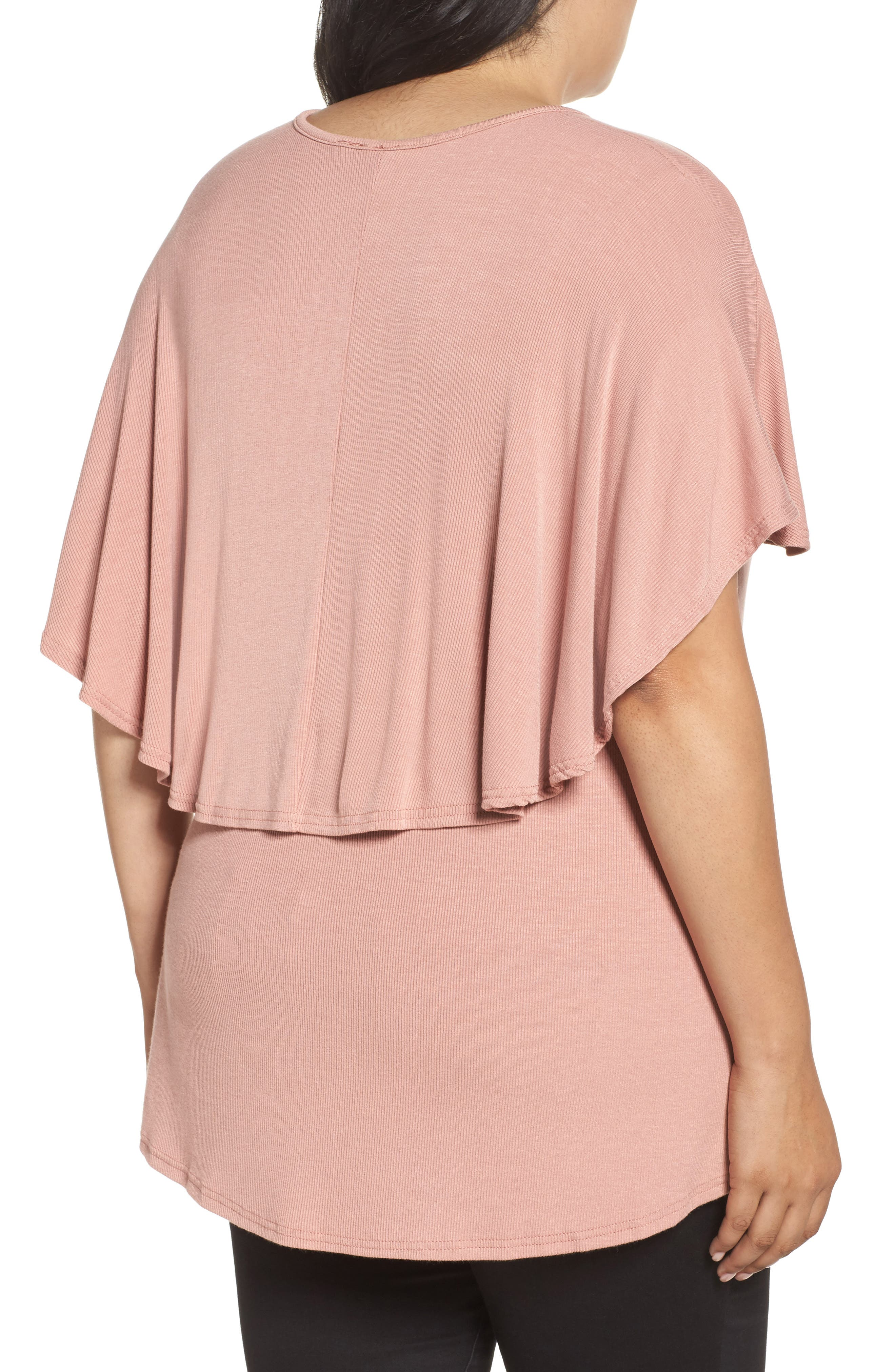 Ribbed Top with Cape,                             Alternate thumbnail 2, color,                             Pink
