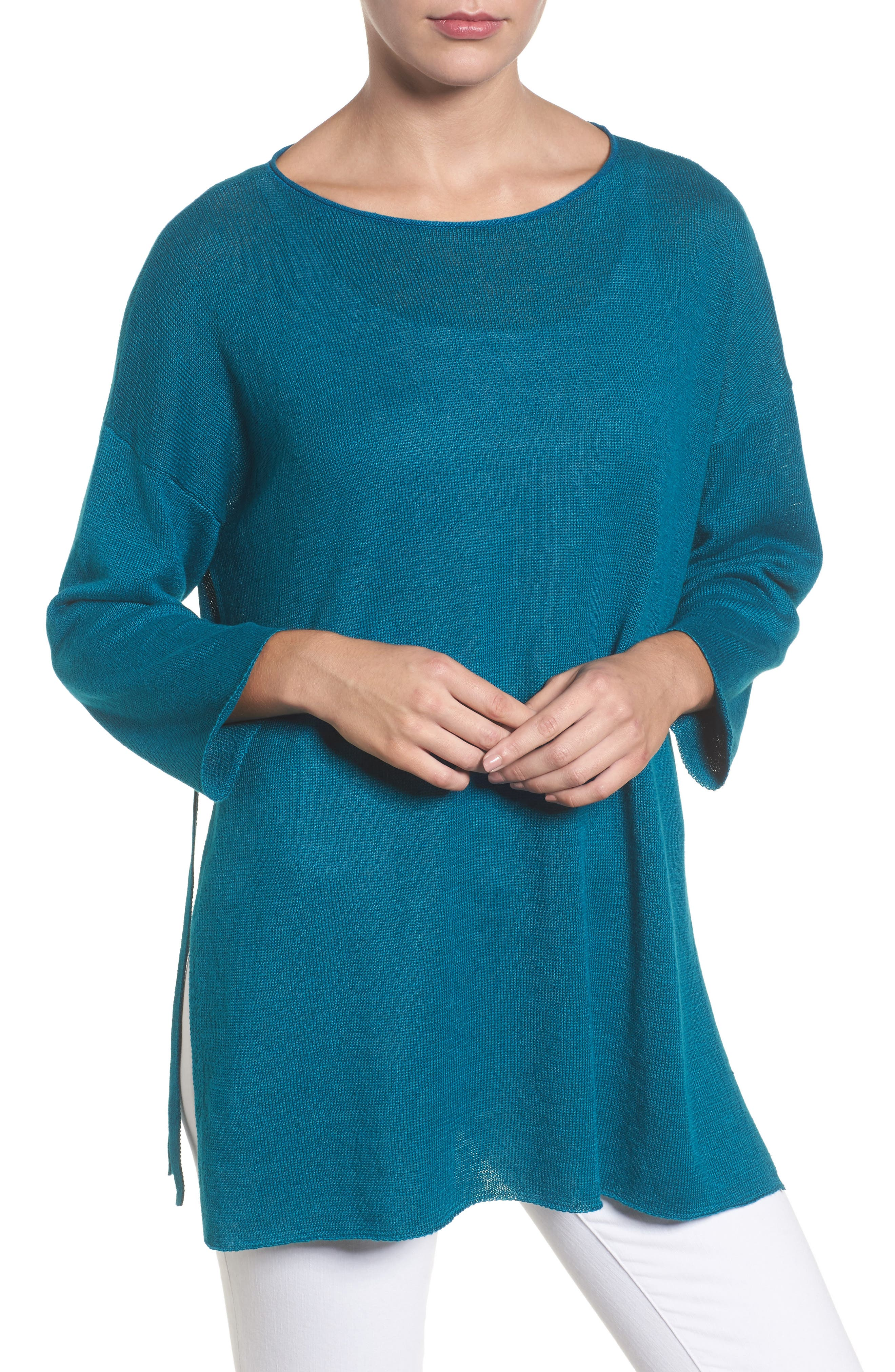 Side Tie Organic Linen Sweater,                             Main thumbnail 1, color,                             Jewel