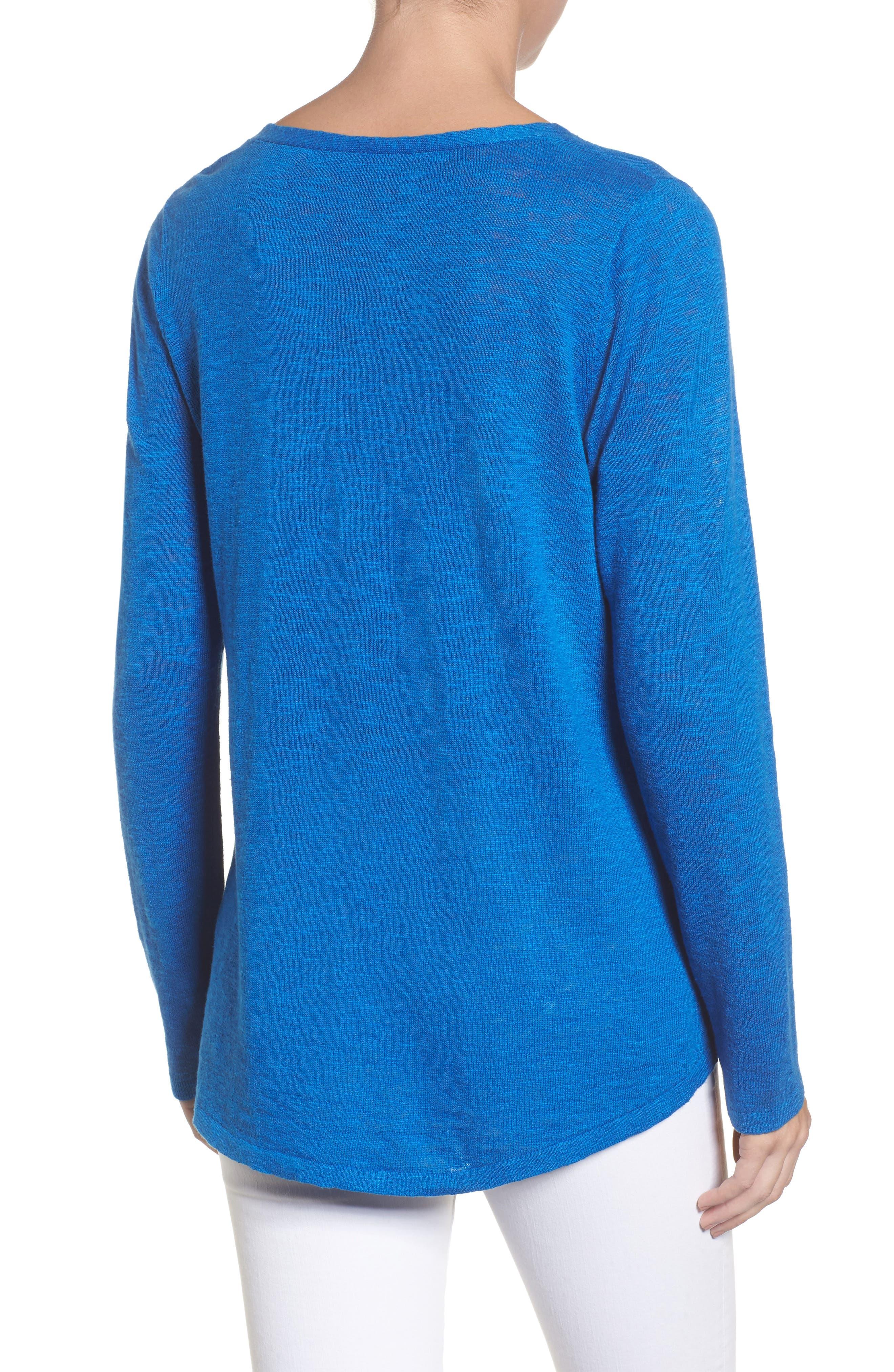 Organic Linen & Cotton V-Neck Sweater,                             Alternate thumbnail 2, color,                             Catalina