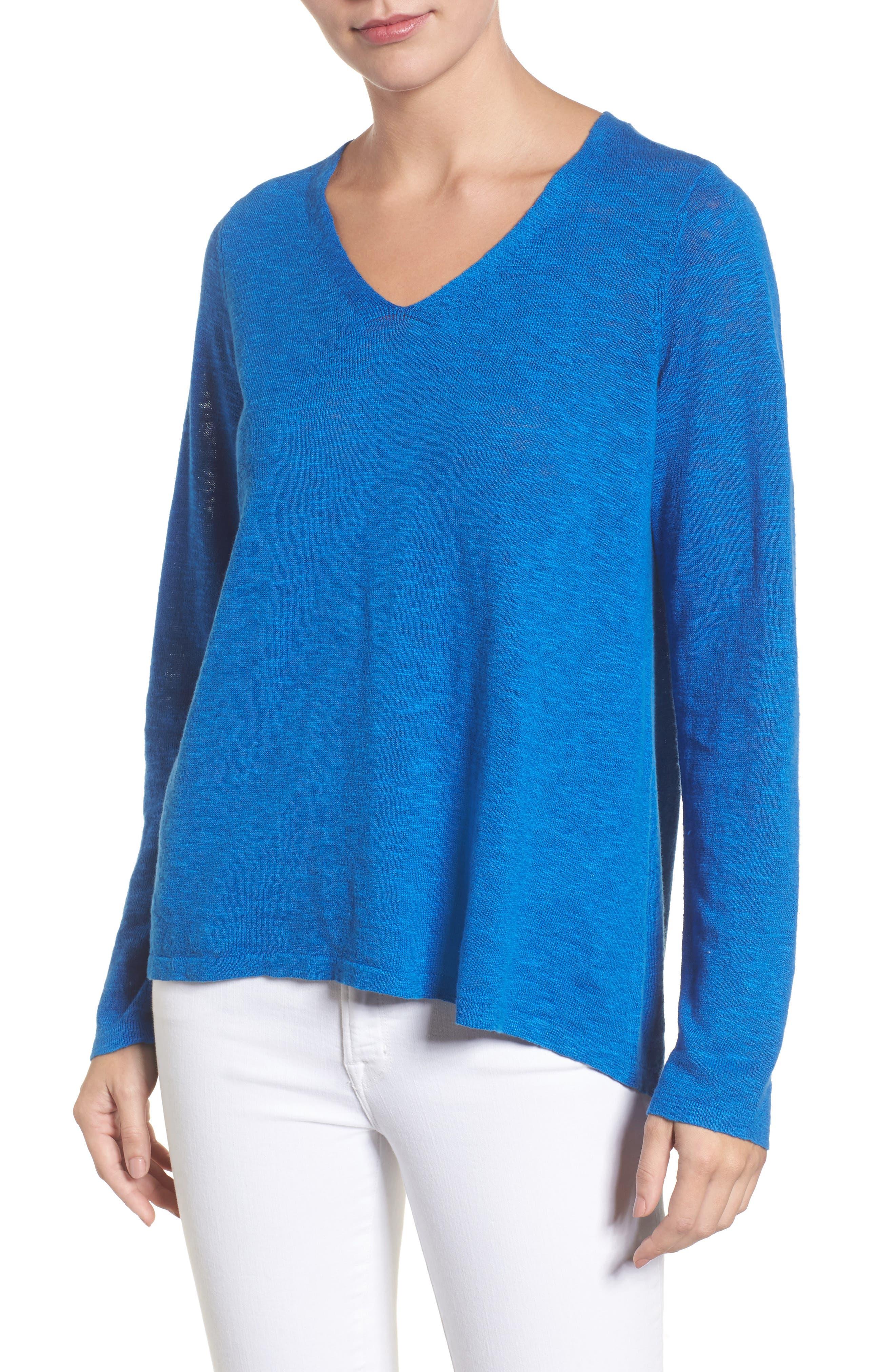 Organic Linen & Cotton V-Neck Sweater,                             Main thumbnail 1, color,                             Catalina