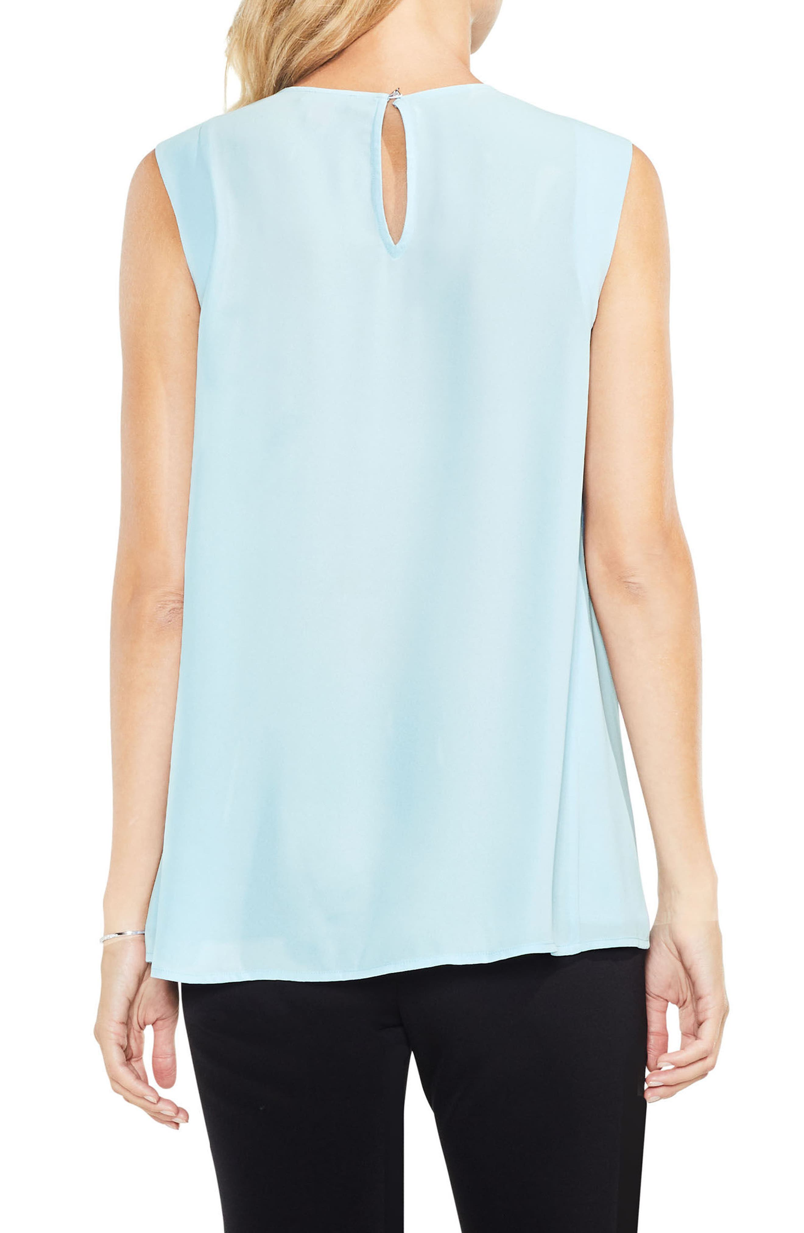 Pleat Neck Blouse,                             Alternate thumbnail 2, color,                             Aqua Mist