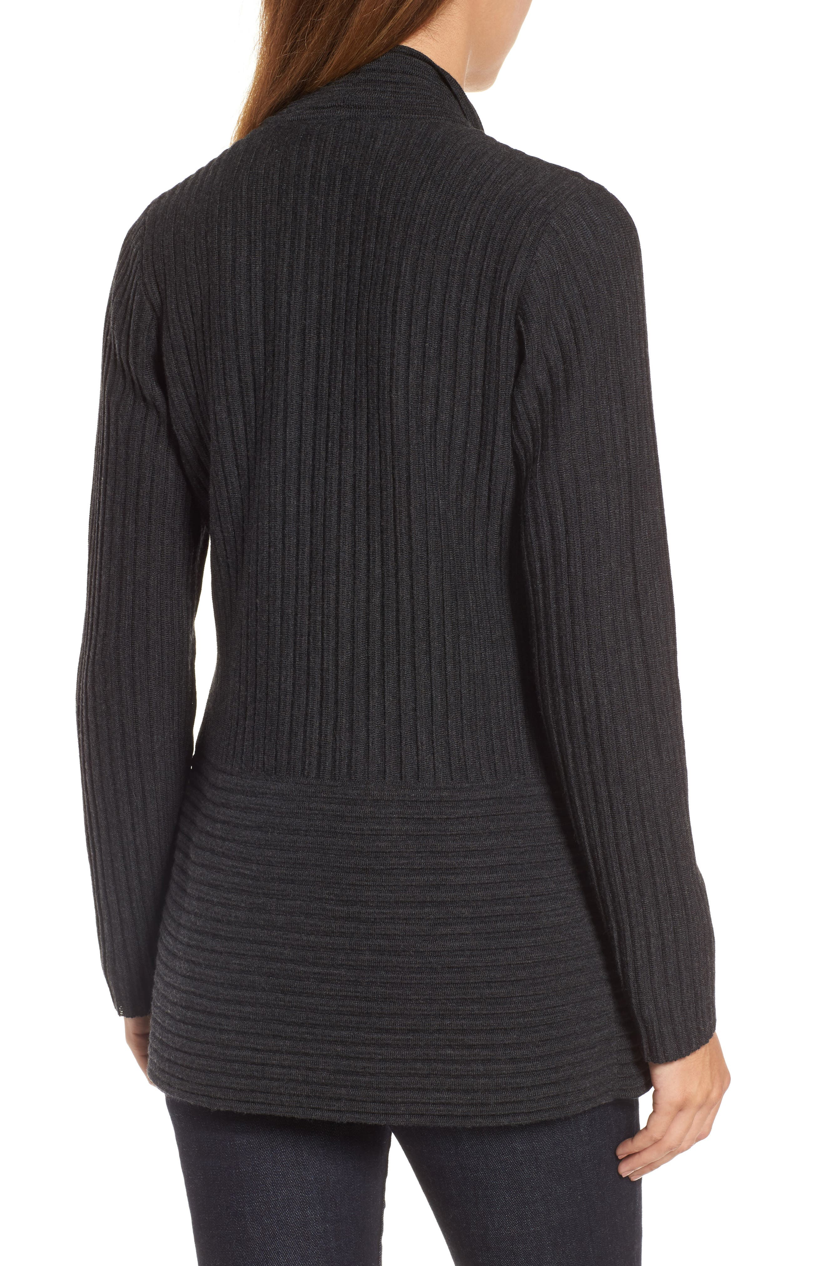Alternate Image 2  - Eileen Fisher Ribbed Merino Wool Long Cardigan