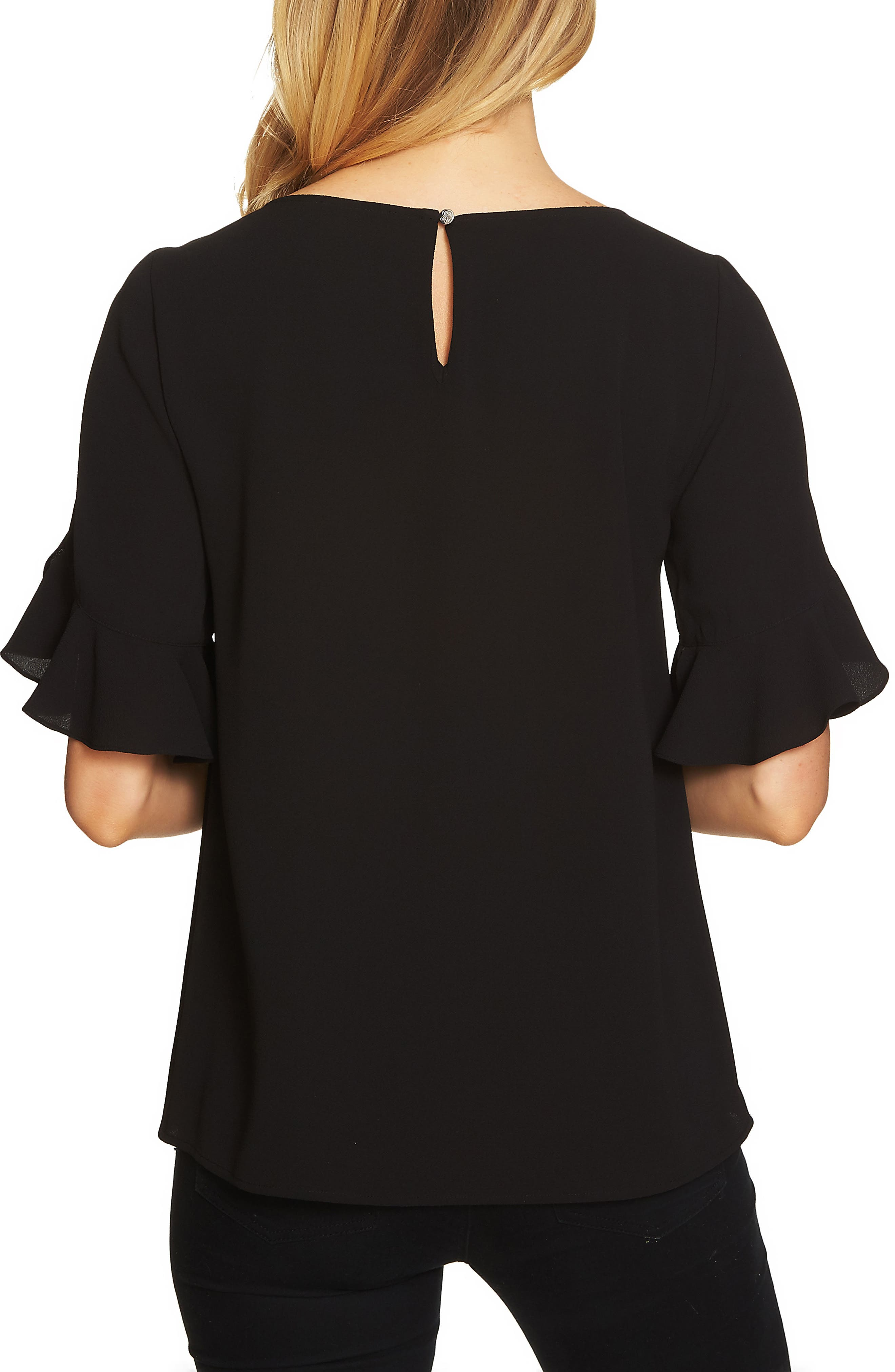 Ruffle Sleeve Blouse,                             Alternate thumbnail 2, color,                             Rich Black