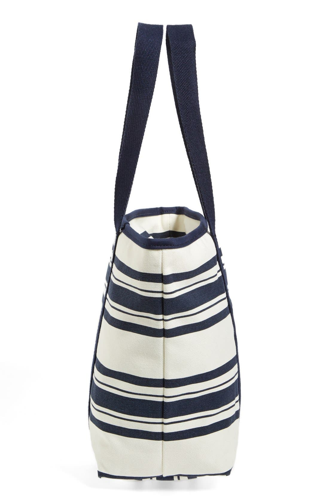 Small Canvas Stripe Tote,                             Alternate thumbnail 5, color,                             Tory Navy Awning Stripe