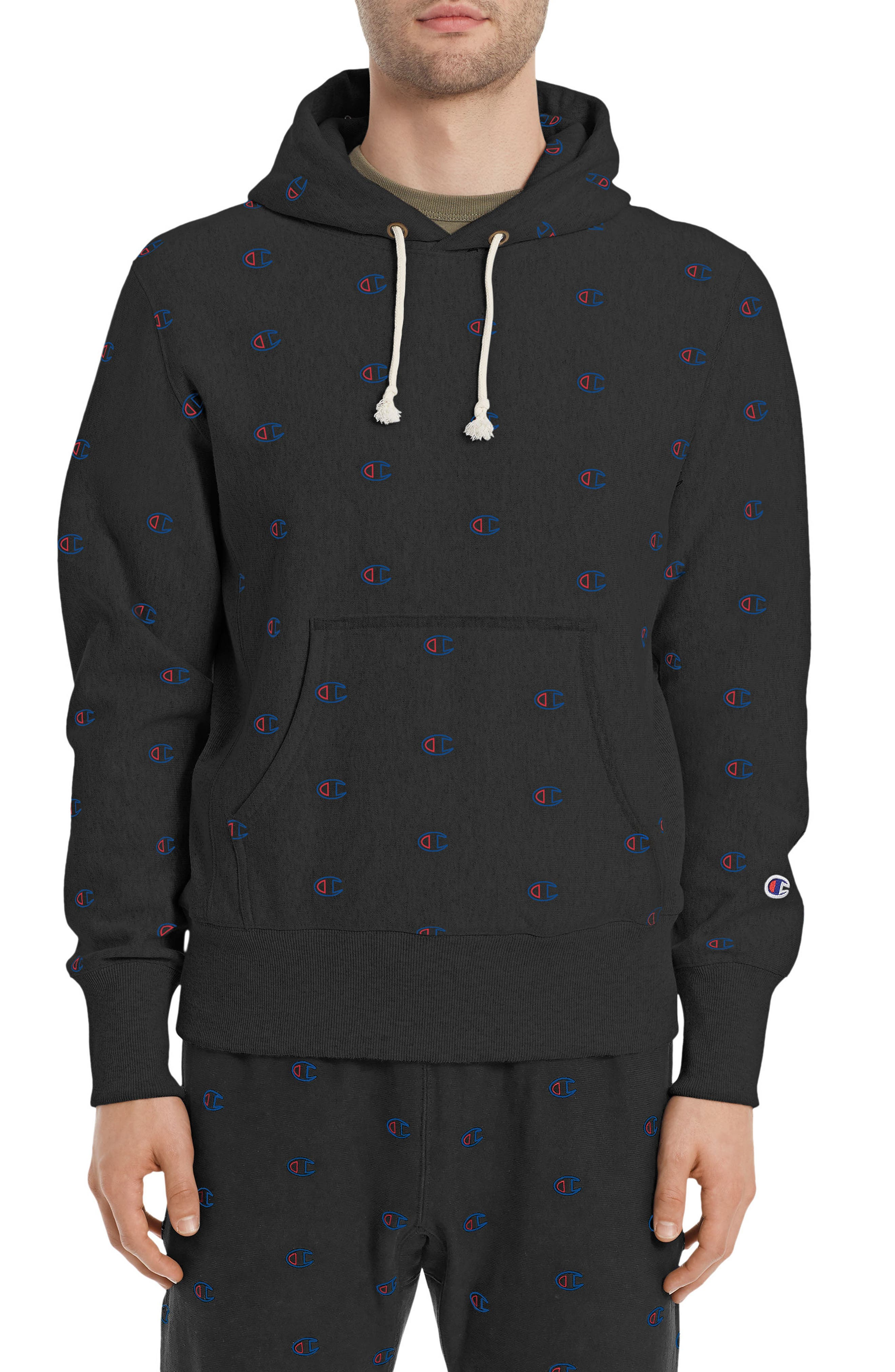 Allover Logo Hoodie,                             Main thumbnail 1, color,                             Black