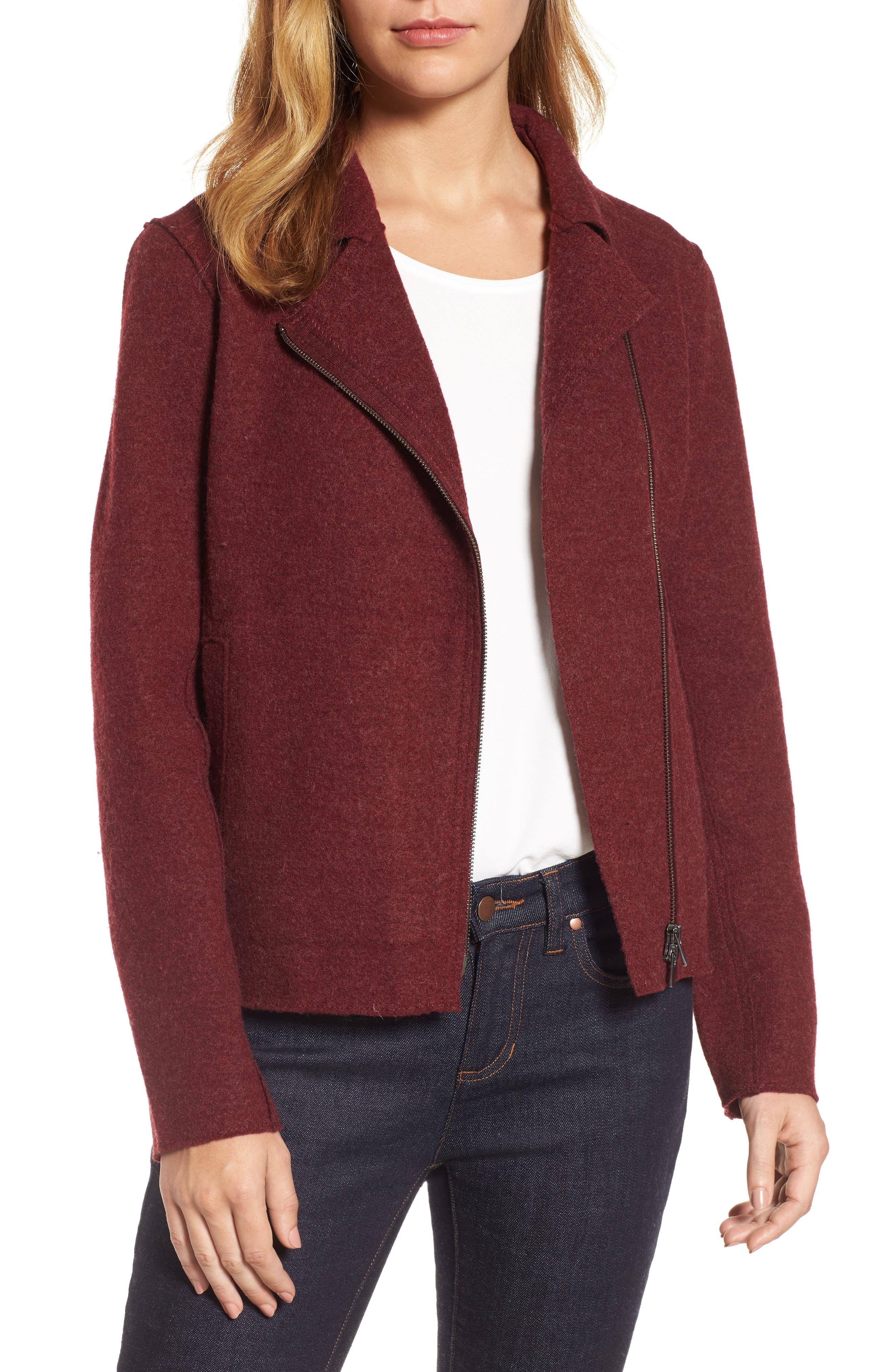 Boiled Wool Moto Jacket,                         Main,                         color, Claret