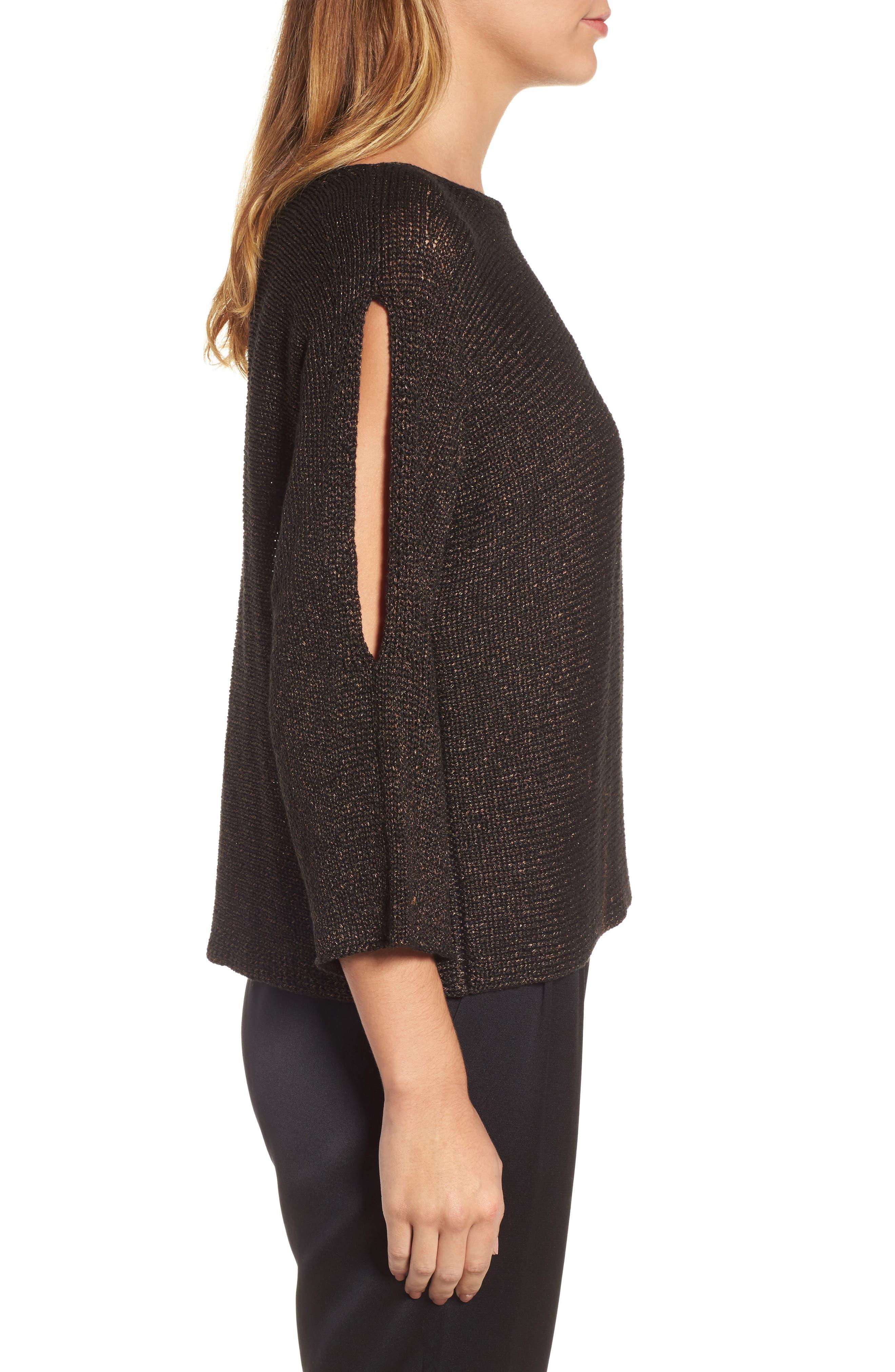 Alternate Image 3  - Eileen Fisher Metallic Organic Linen Blend Sweater (Regular & Petite)