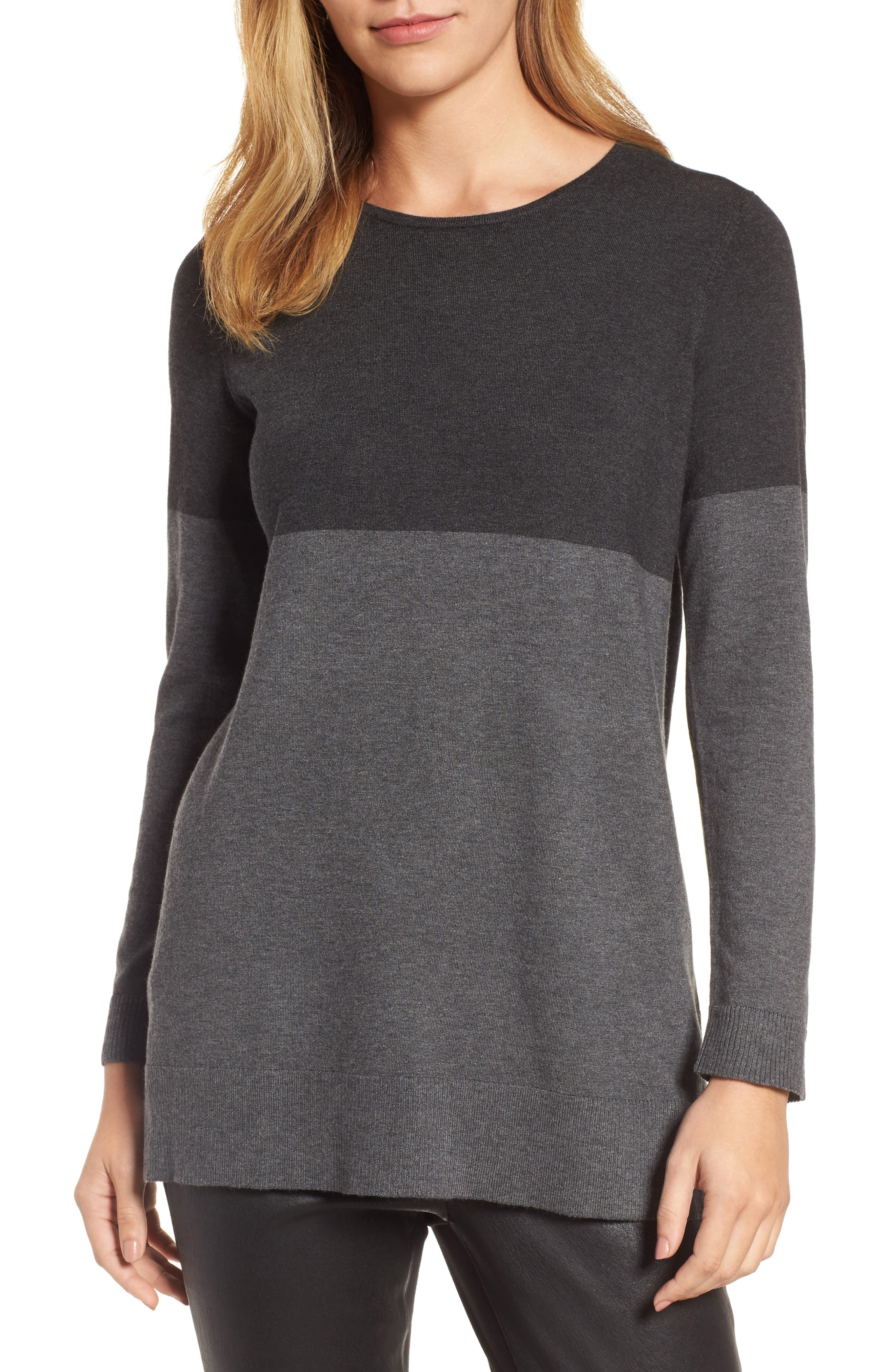 Alternate Image 1 Selected - Eileen Fisher Colorblock Tencel® Blend Sweater