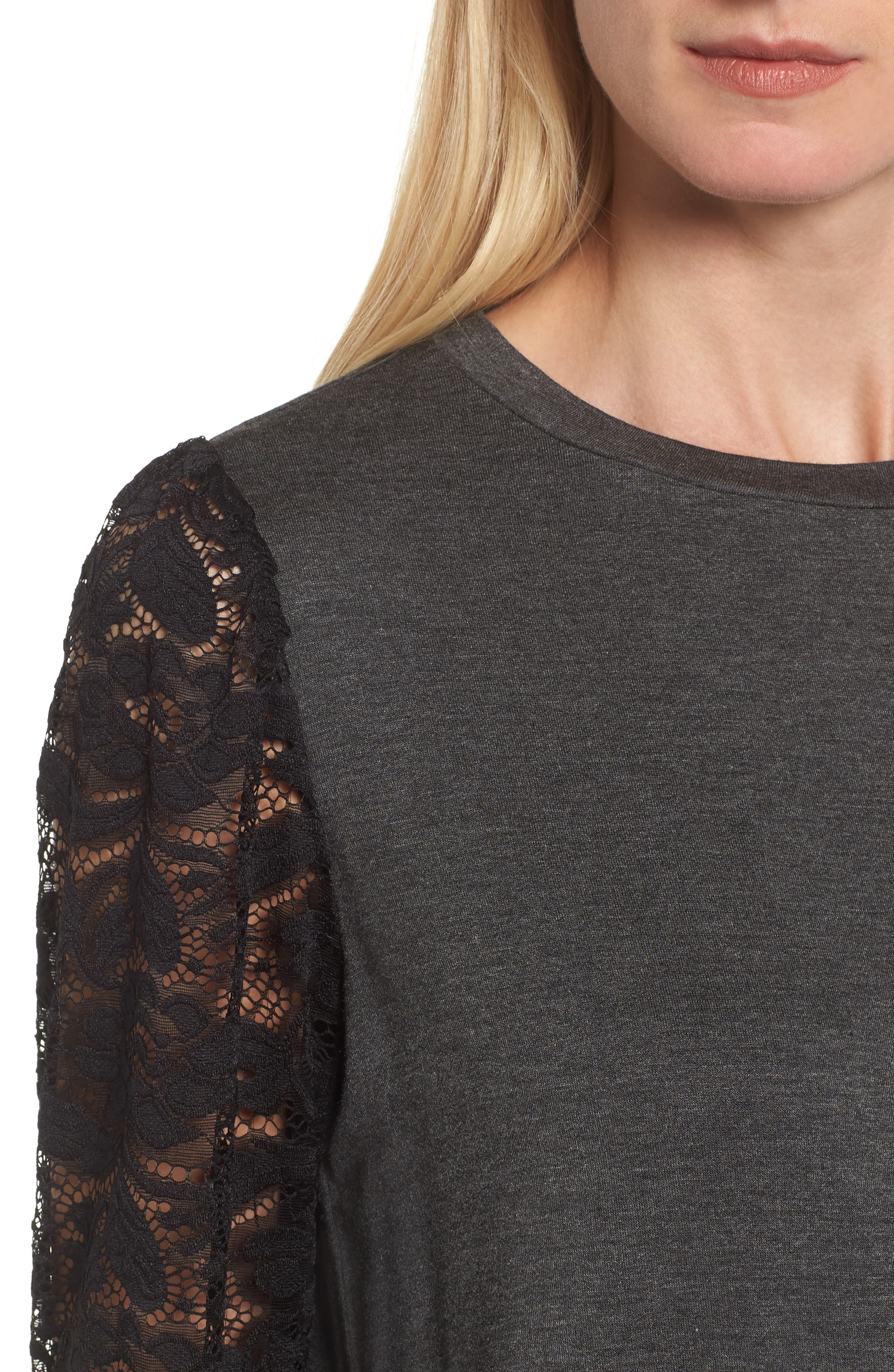 Lace Sleeve Sweatshirt,                             Alternate thumbnail 4, color,                             Dark Charcoal