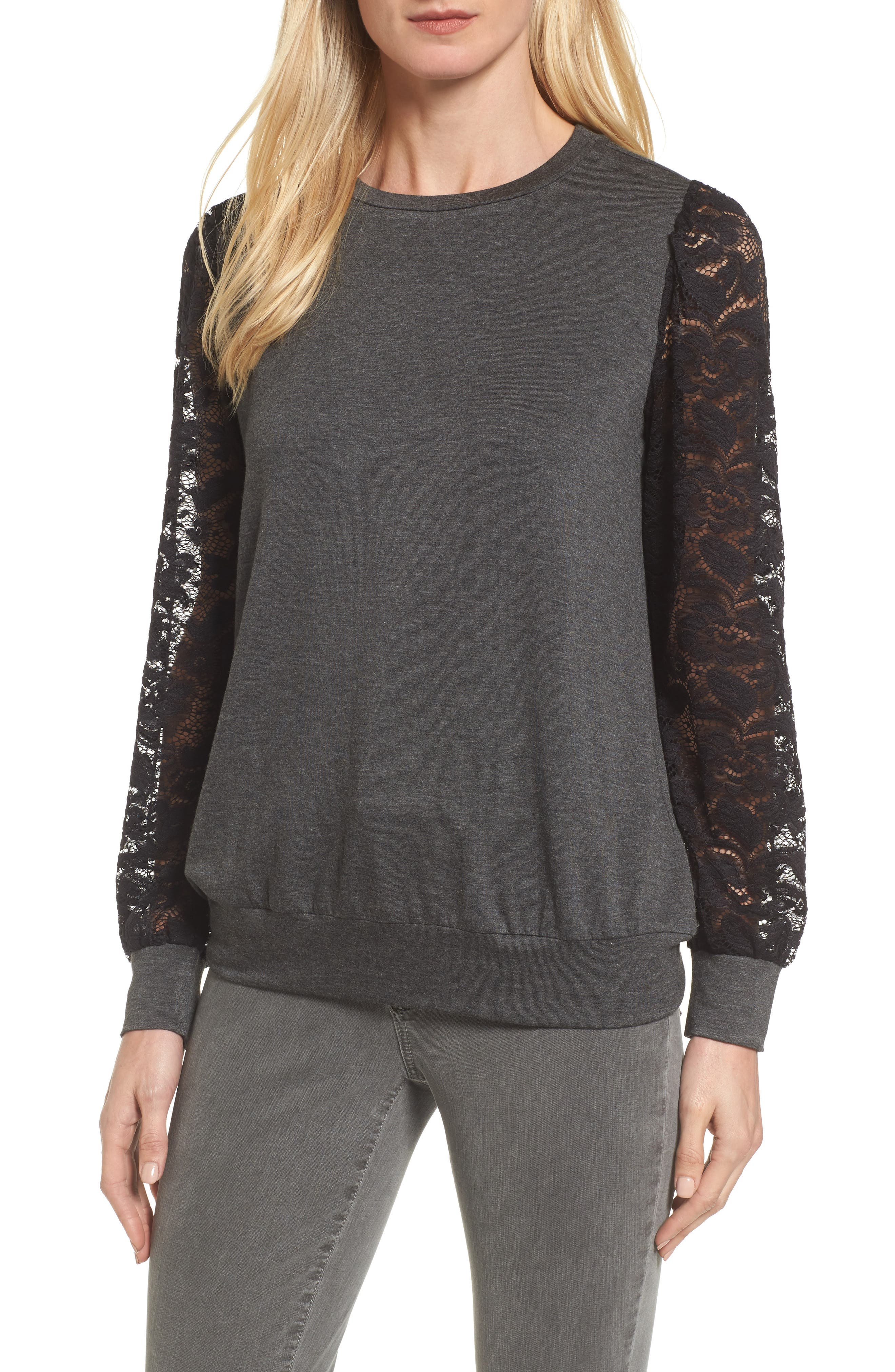 Lace Sleeve Sweatshirt,                             Main thumbnail 1, color,                             Dark Charcoal