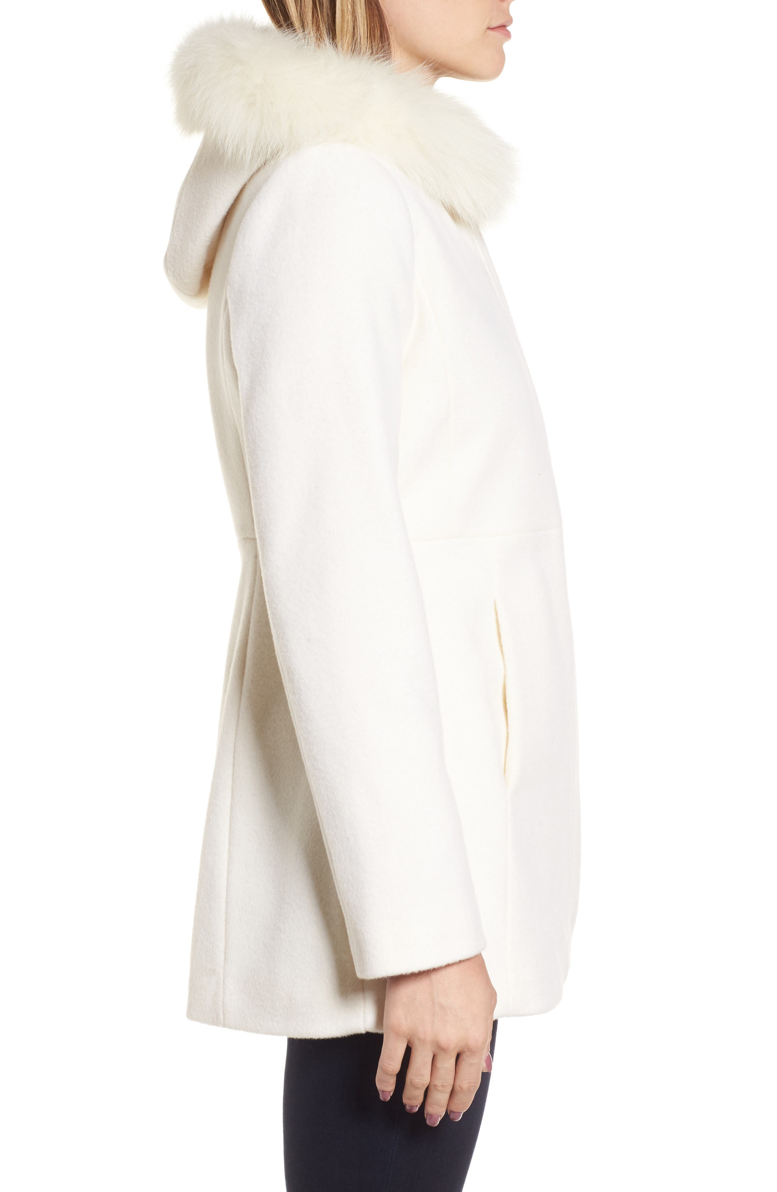 Genuine Fox Fur Trim Hooded Wool Blend Coat,                             Alternate thumbnail 3, color,                             Ivory