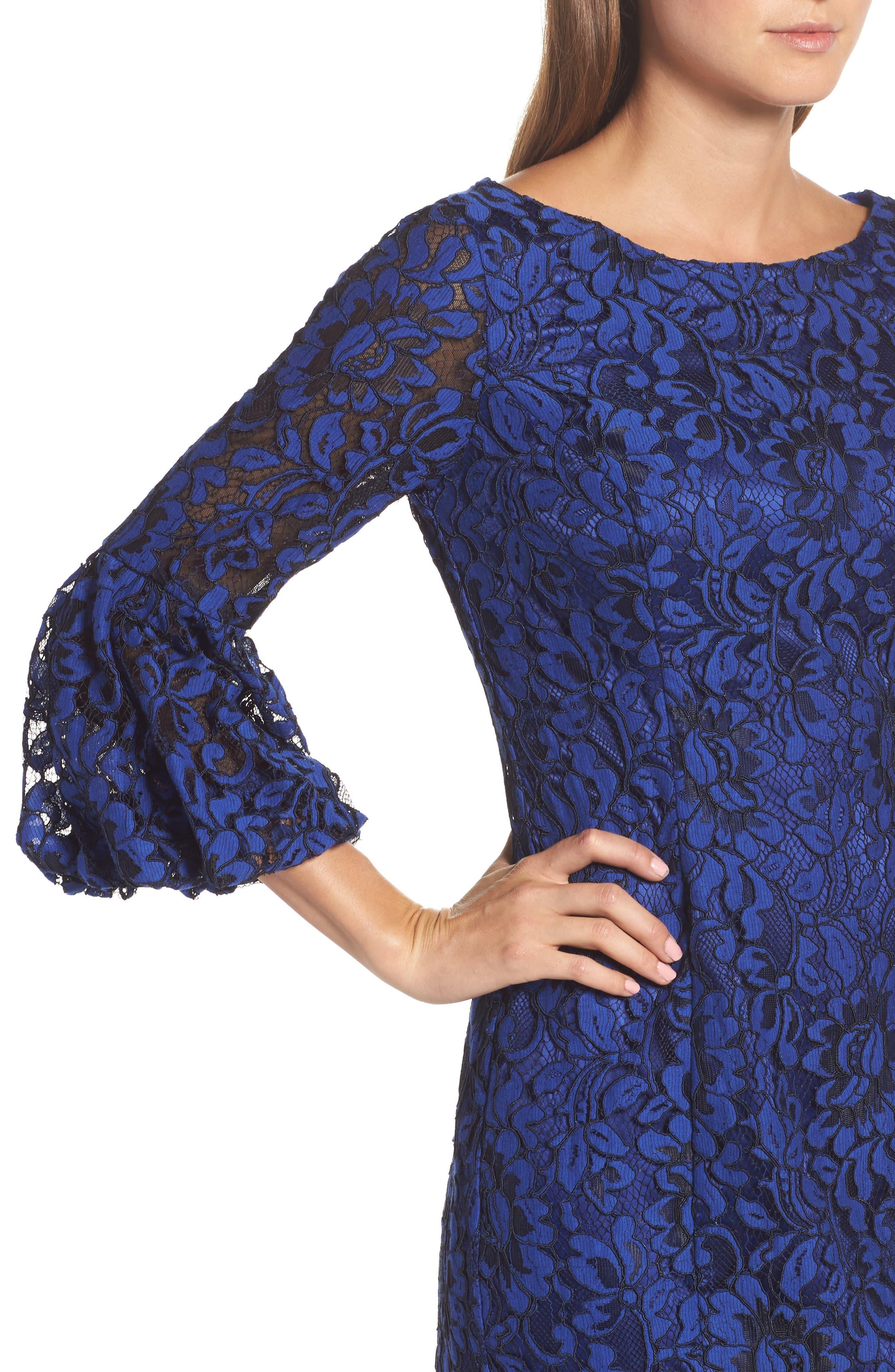 Bell Sleeve Lace Sheath Dress,                             Alternate thumbnail 4, color,                             Cobalt