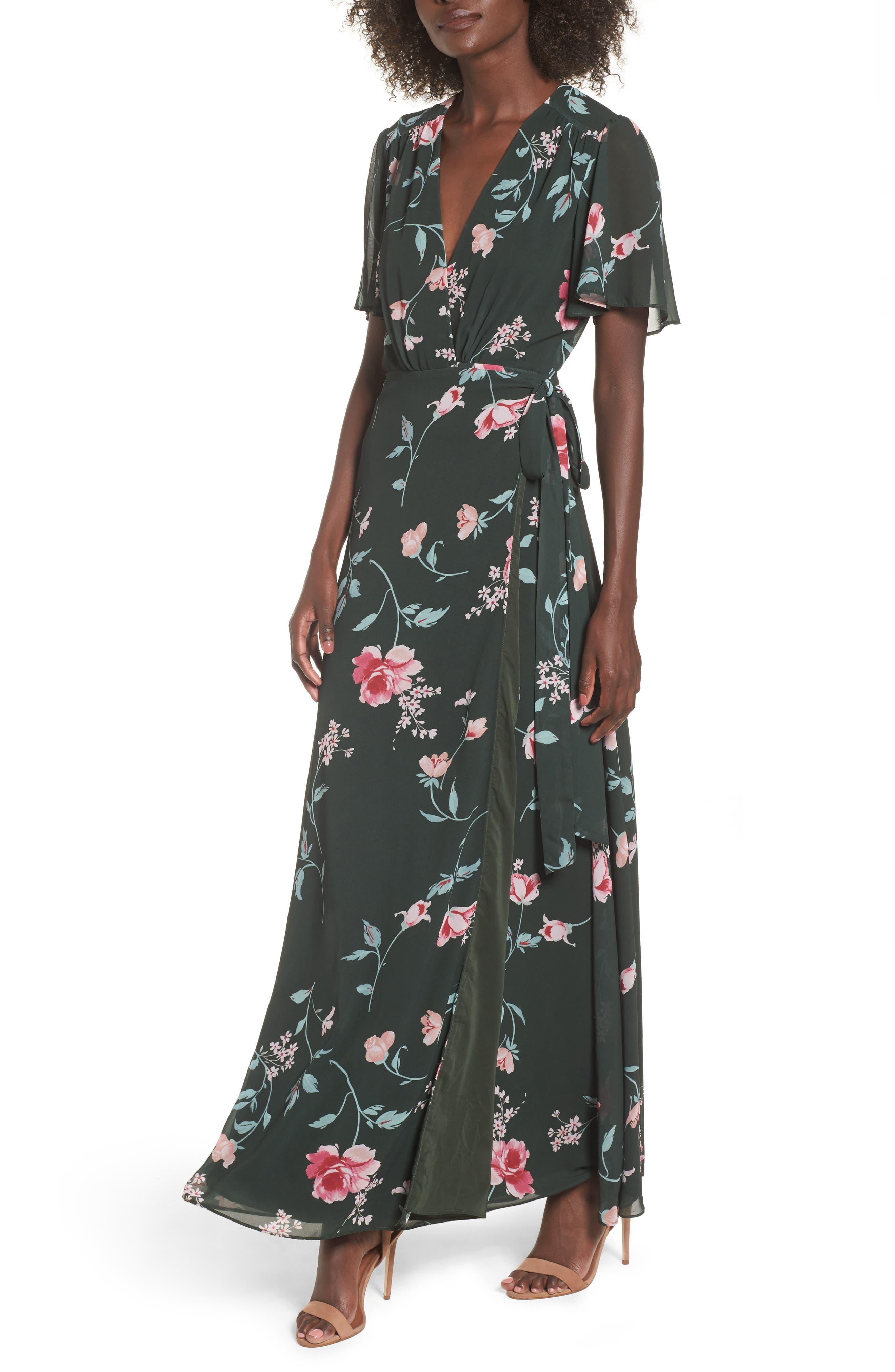 Plaza Kimono Maxi Dress,                             Main thumbnail 1, color,                             Evergreen Floral
