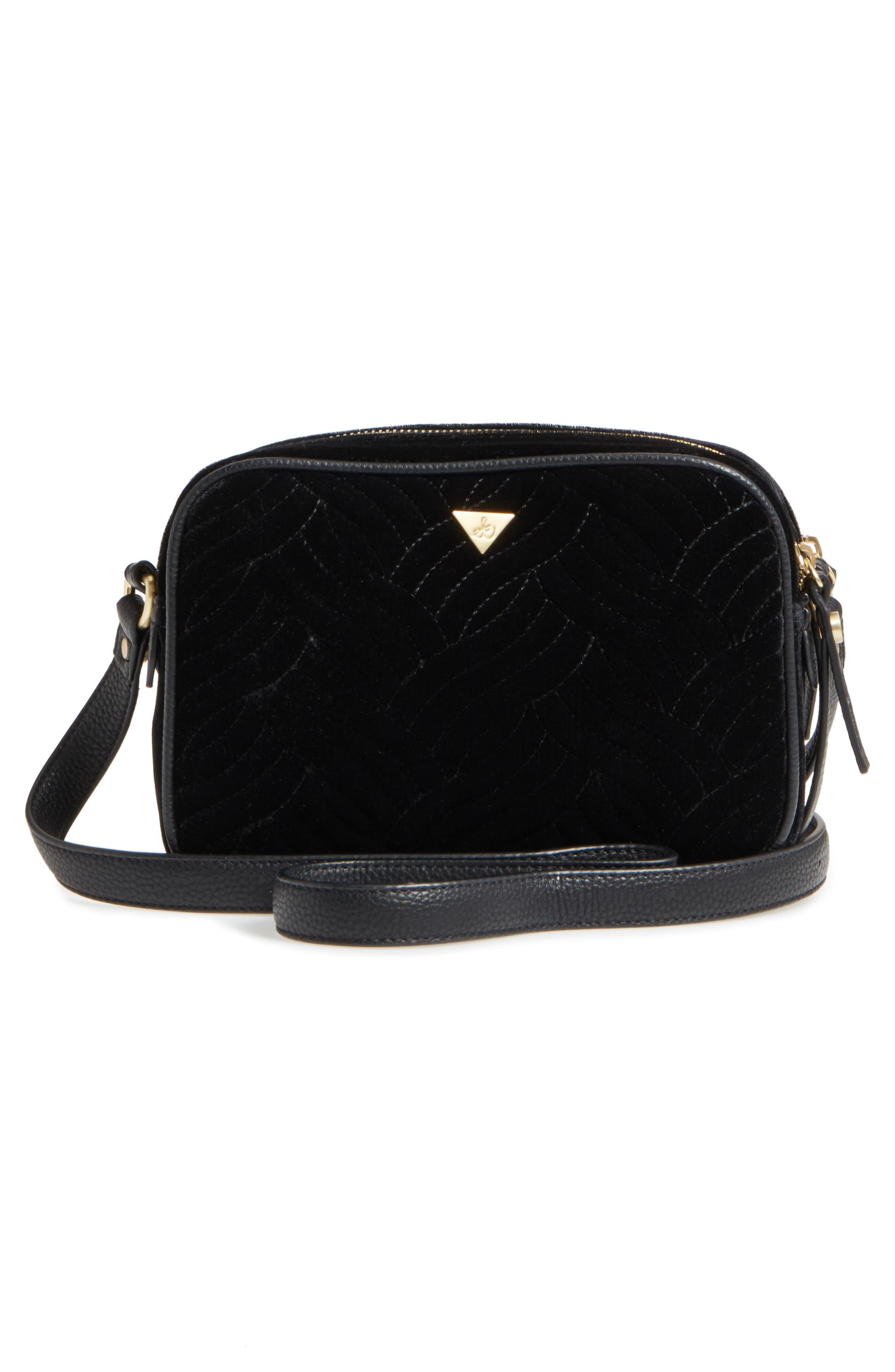 Perri Velvet Camera Crossbody Bag,                             Alternate thumbnail 2, color,                             Black Moon/ Star