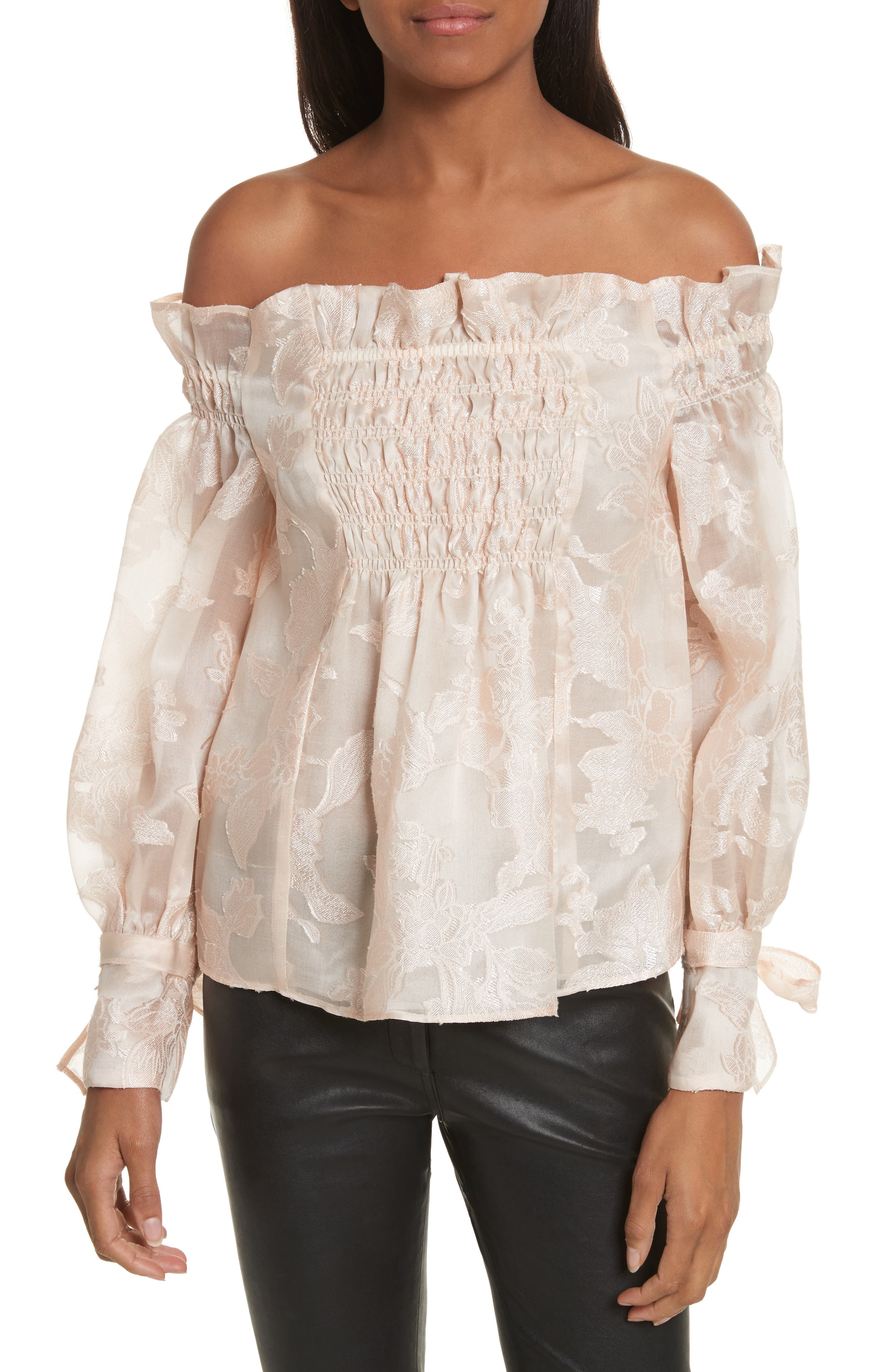 Alternate Image 1 Selected - Rebecca Taylor Floral Organza Top