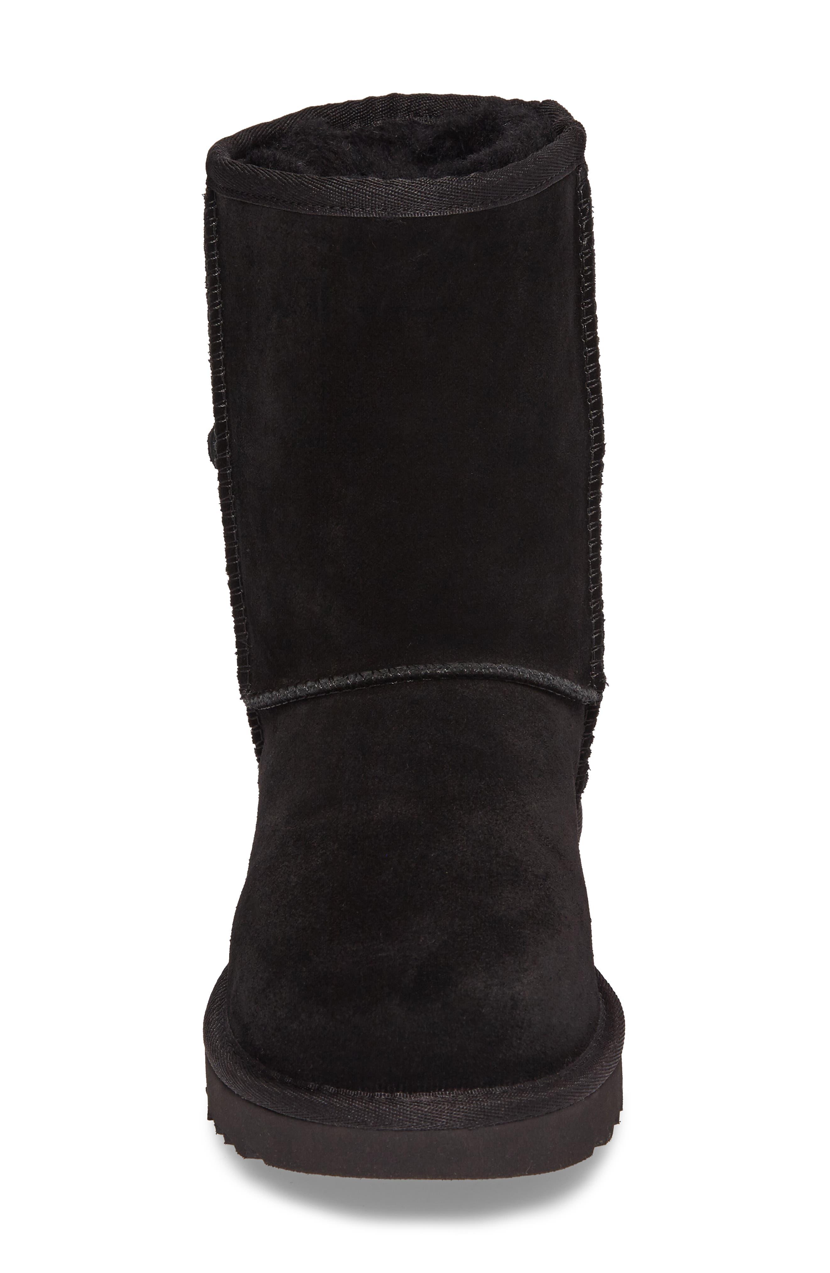 Classic Short Petal Boot,                             Alternate thumbnail 4, color,                             Black Suede