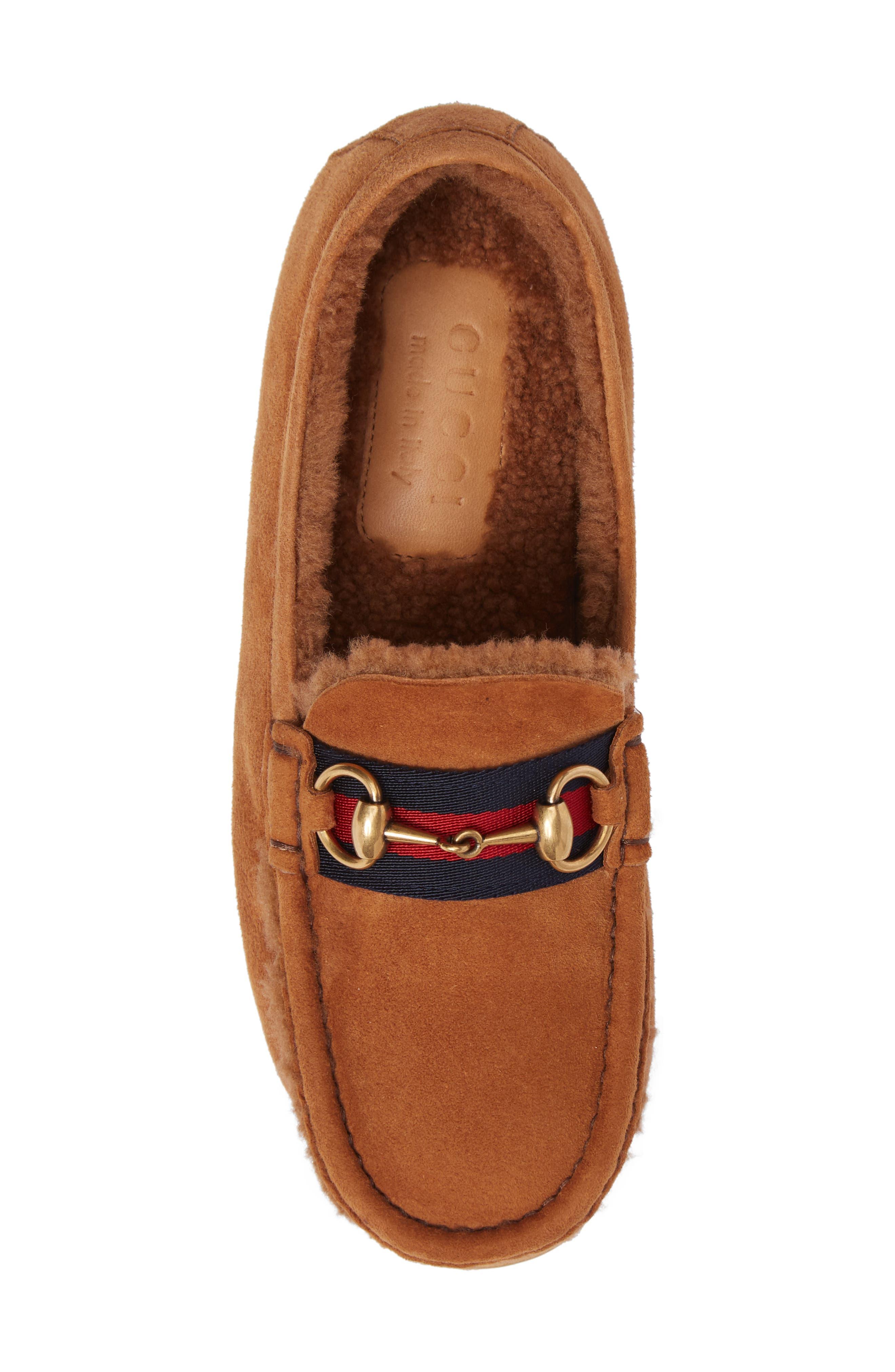 Driving Shoe with Genuine Shearling,                             Alternate thumbnail 5, color,                             Dark Tan