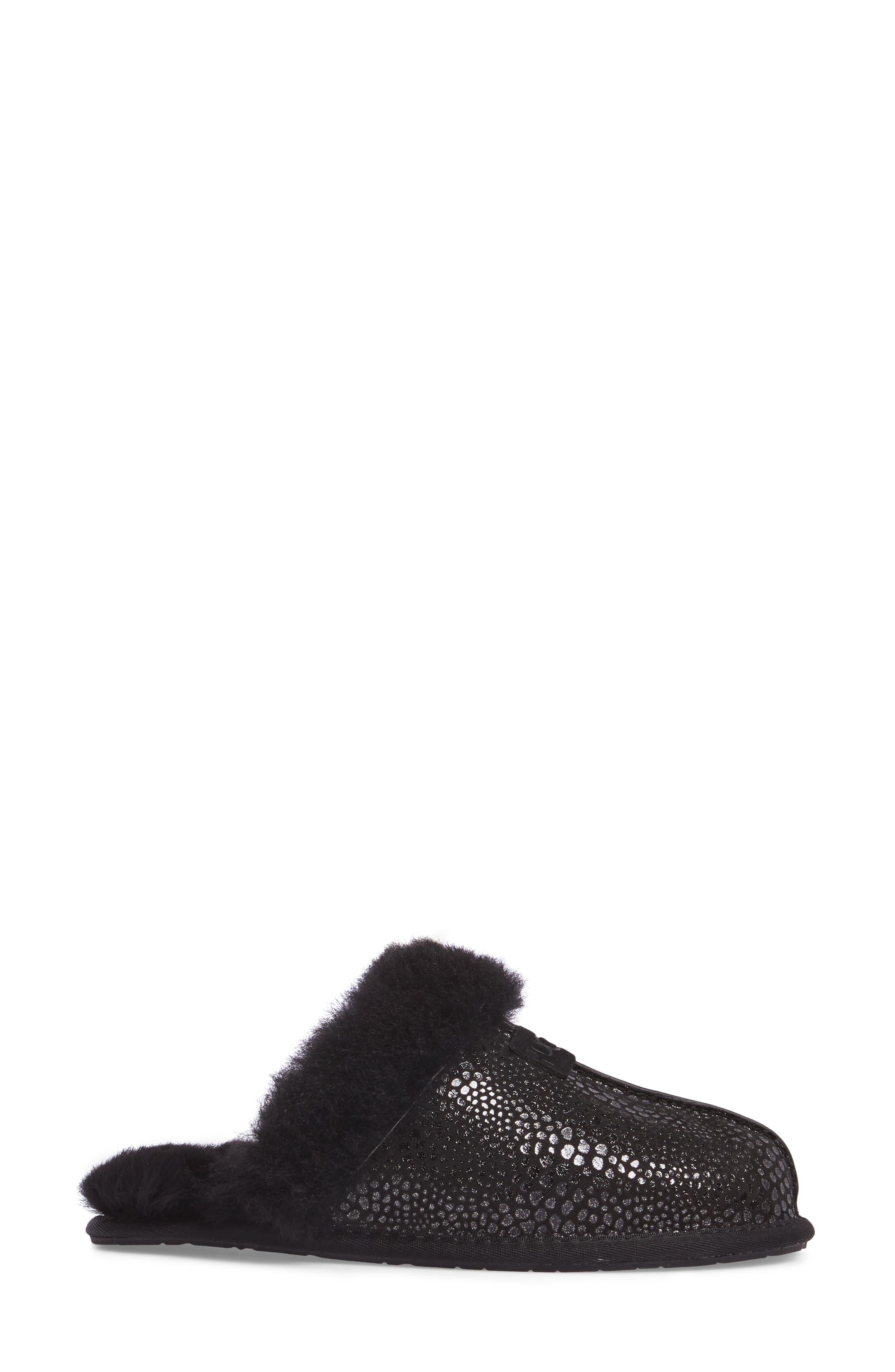 Scuffette II Glitzy Slipper,                             Alternate thumbnail 3, color,                             Black Suede
