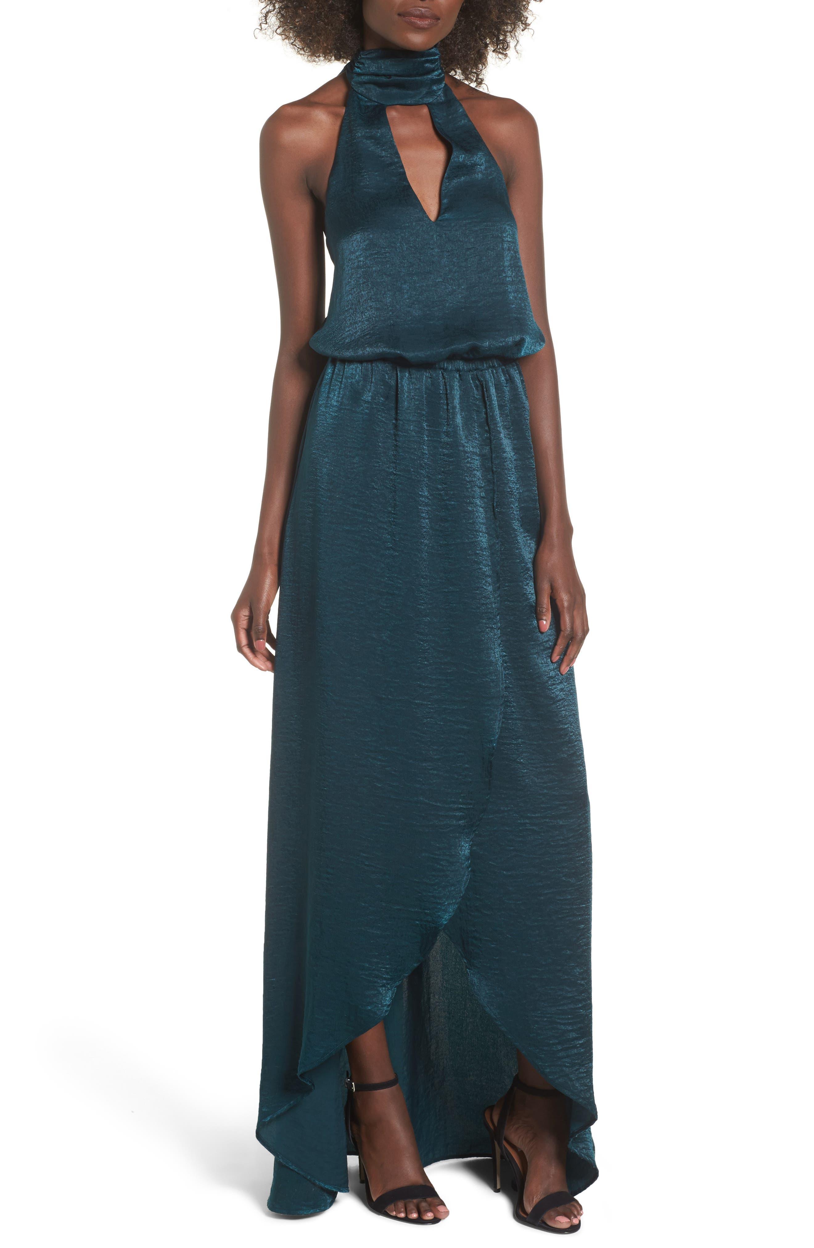 Karolina Halter Maxi Dress,                         Main,                         color, Dark Forest