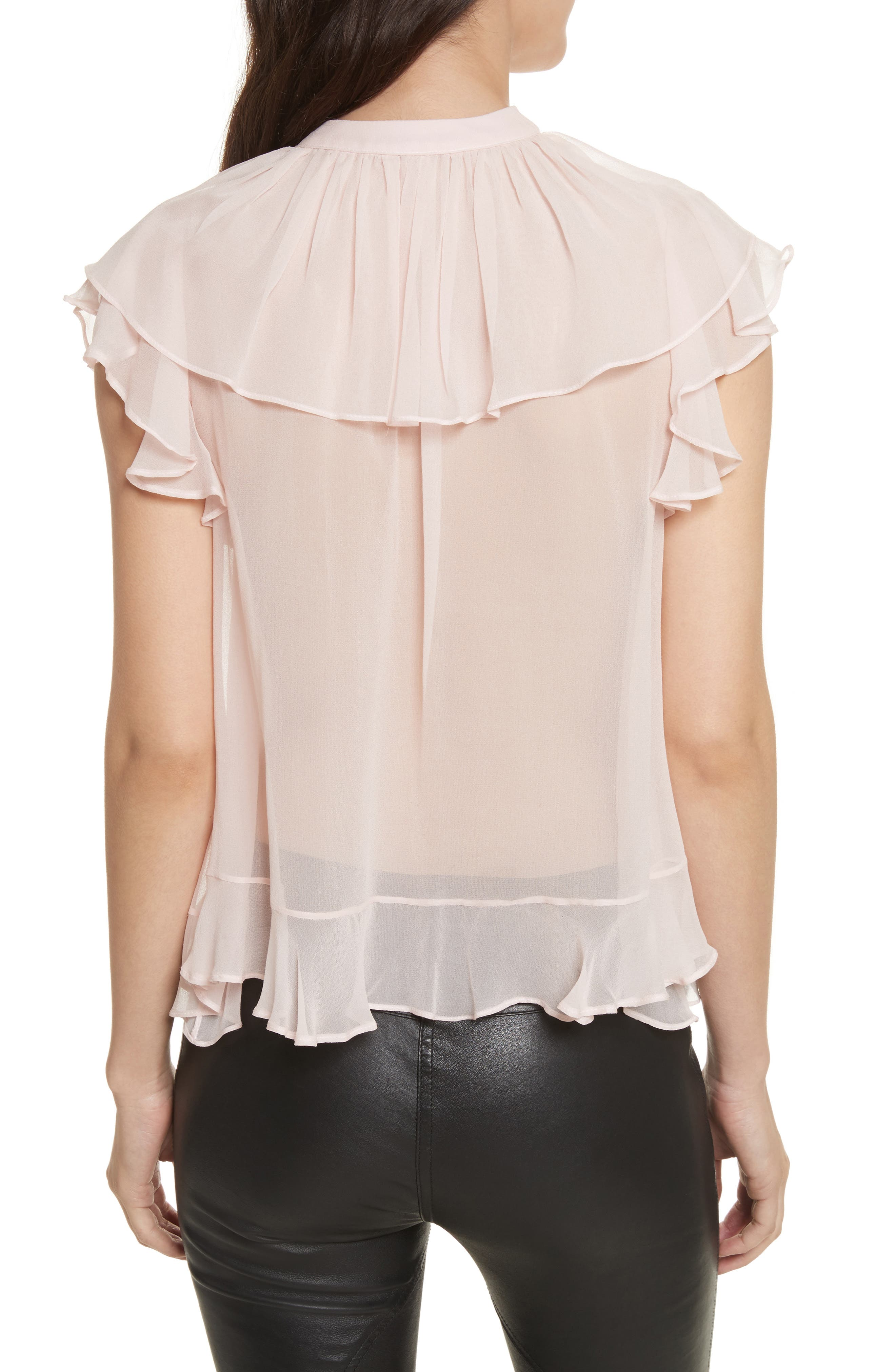 Ronni Tie Neck Top,                             Alternate thumbnail 2, color,                             Light Pink