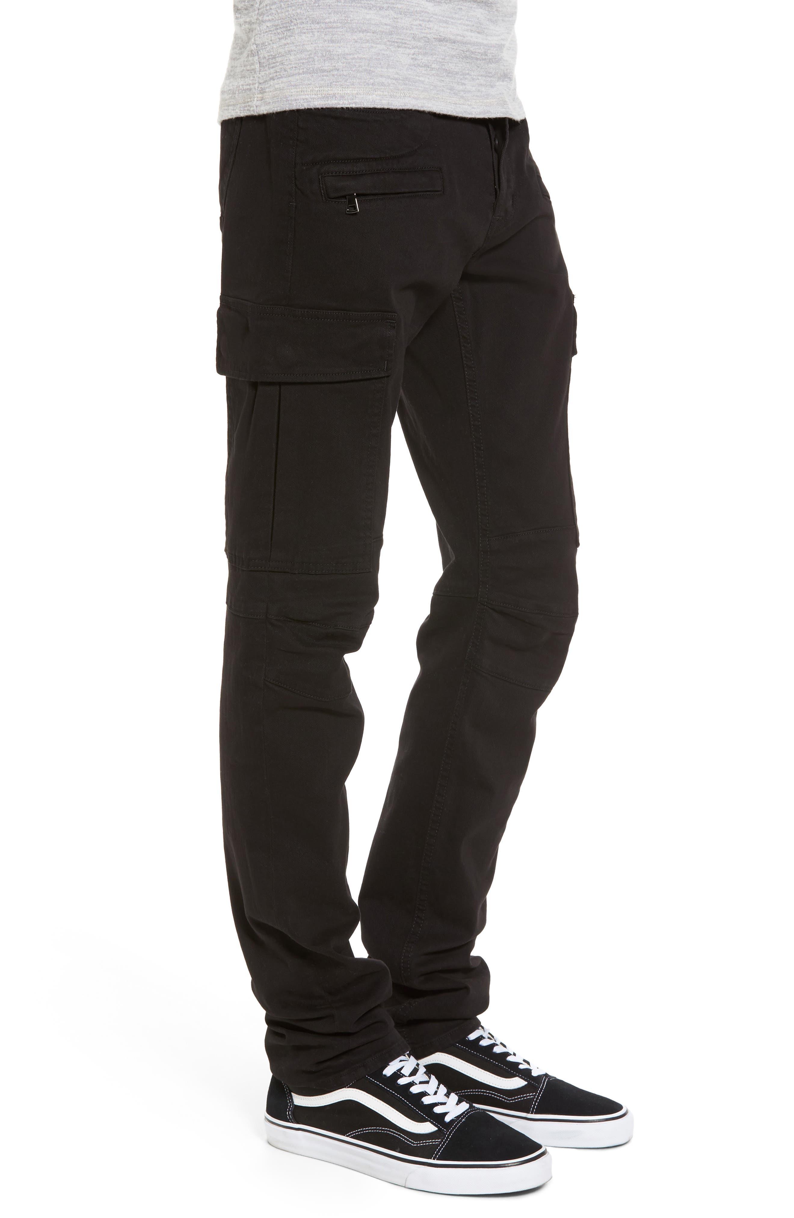 Alternate Image 3  - Hudson Jeans Greyson Cargo Biker Skinny Fit Jeans (Black)