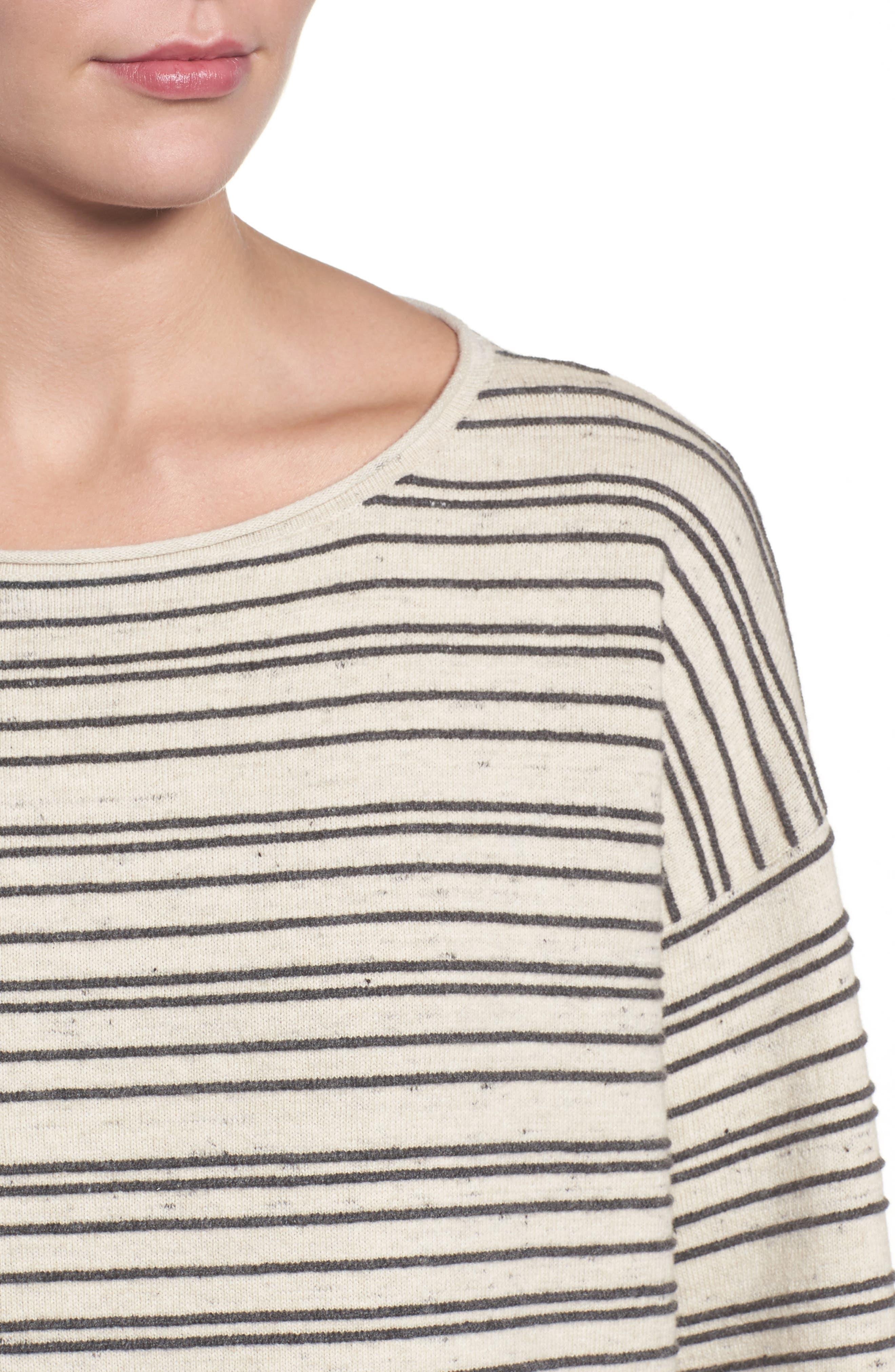 Stripe Organic Cotton Blend Sweater,                             Alternate thumbnail 4, color,                             Maple Oat