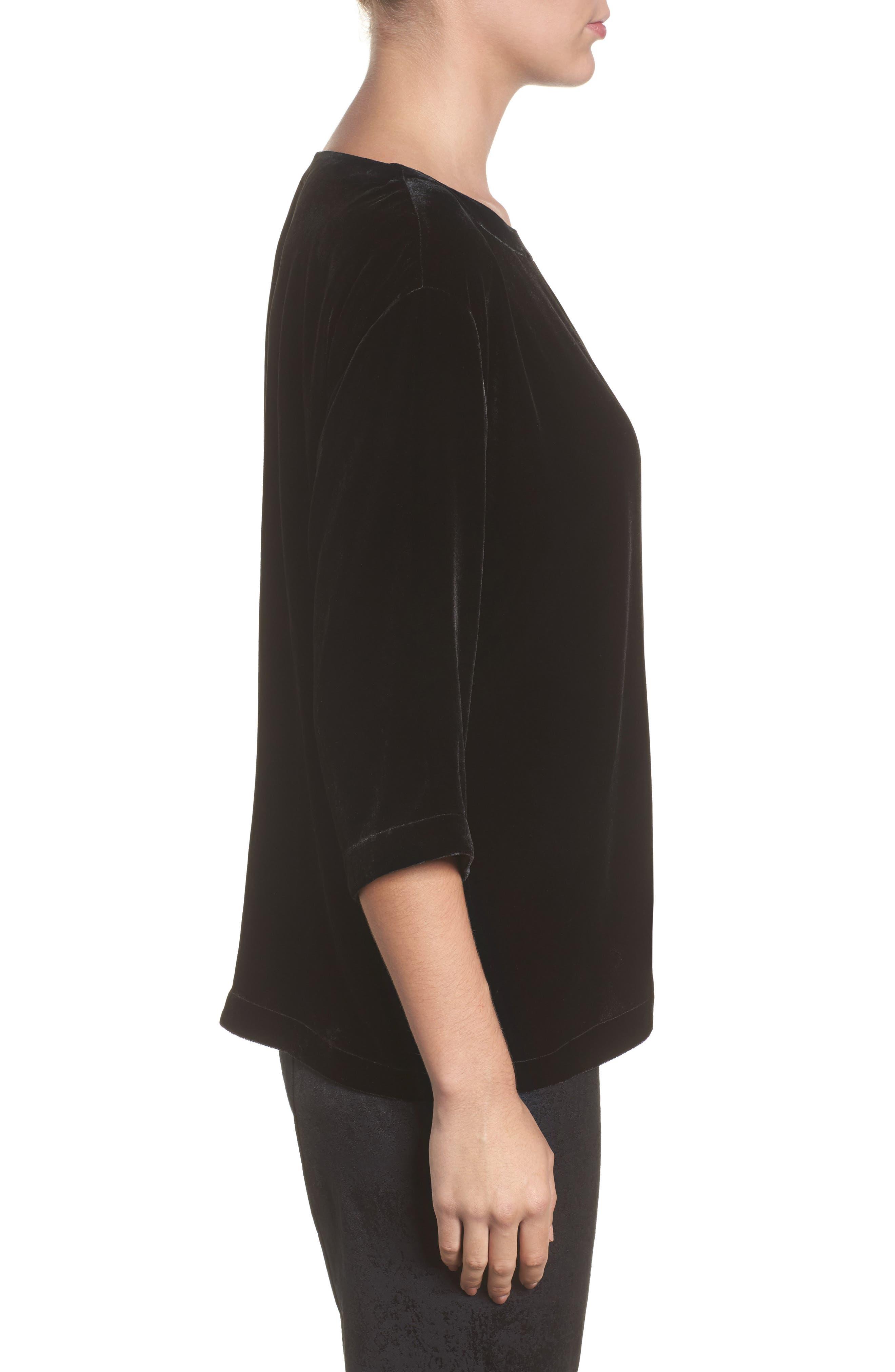 Alternate Image 3  - Eileen Fisher Boxy Velvet Top (Regular & Petite)