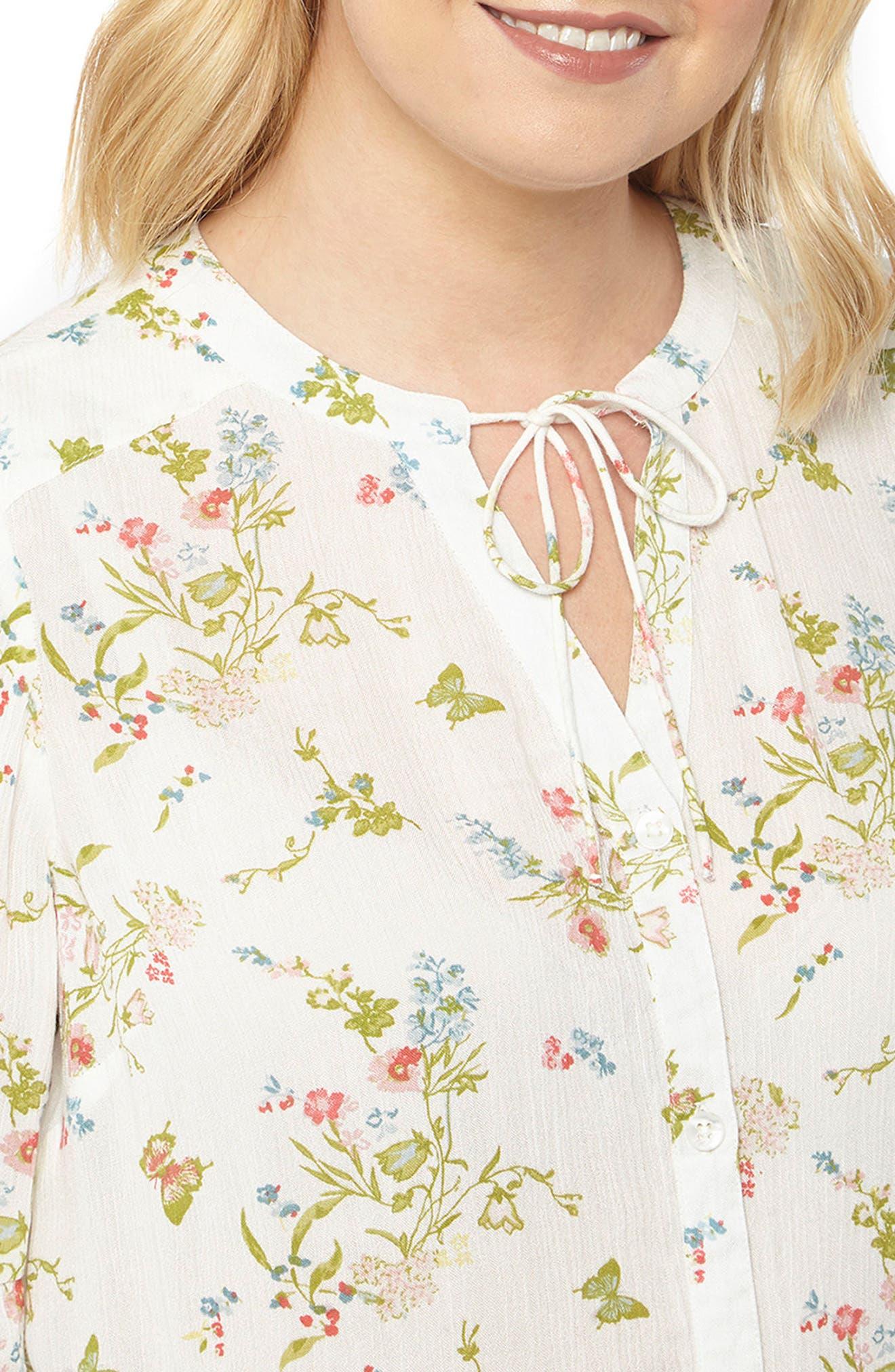 Alternate Image 4  - Evans Bell Sleeve Floral Blouse (Plus Size)