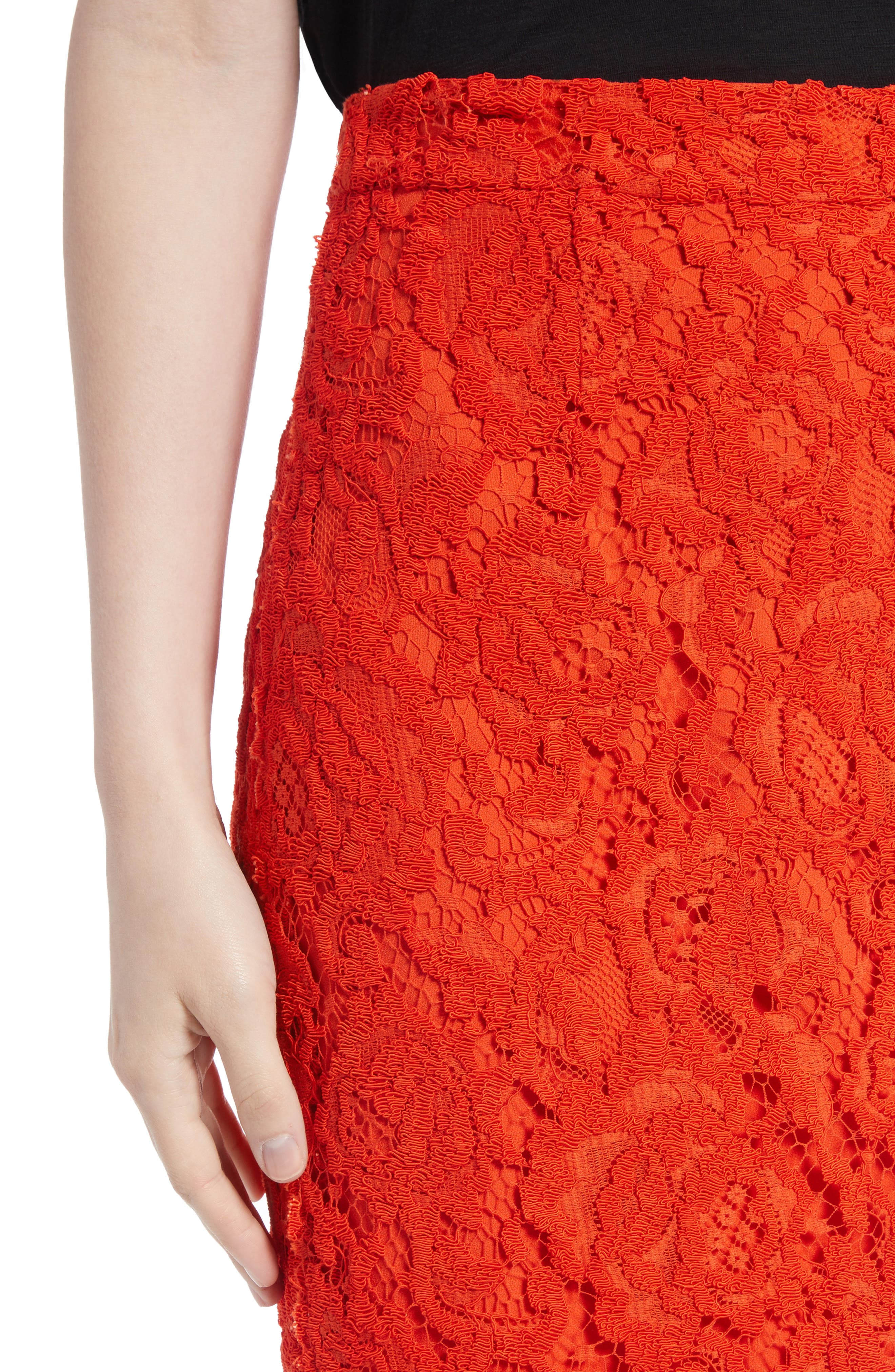 Corded Lace Miniskirt,                             Alternate thumbnail 5, color,                             Coral
