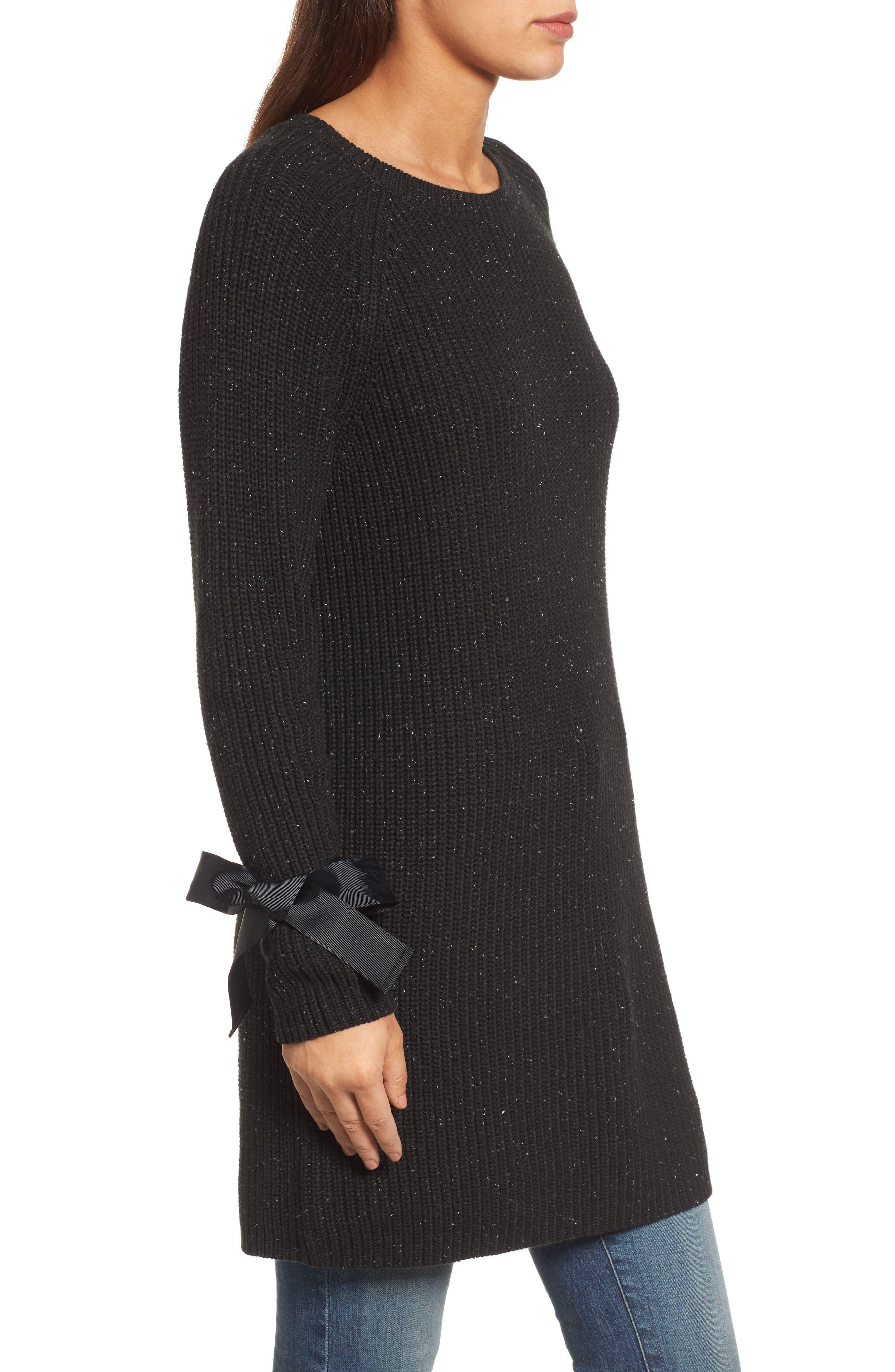 Bow Sleeve Tunic,                             Alternate thumbnail 3, color,                             Black Nep Pattern
