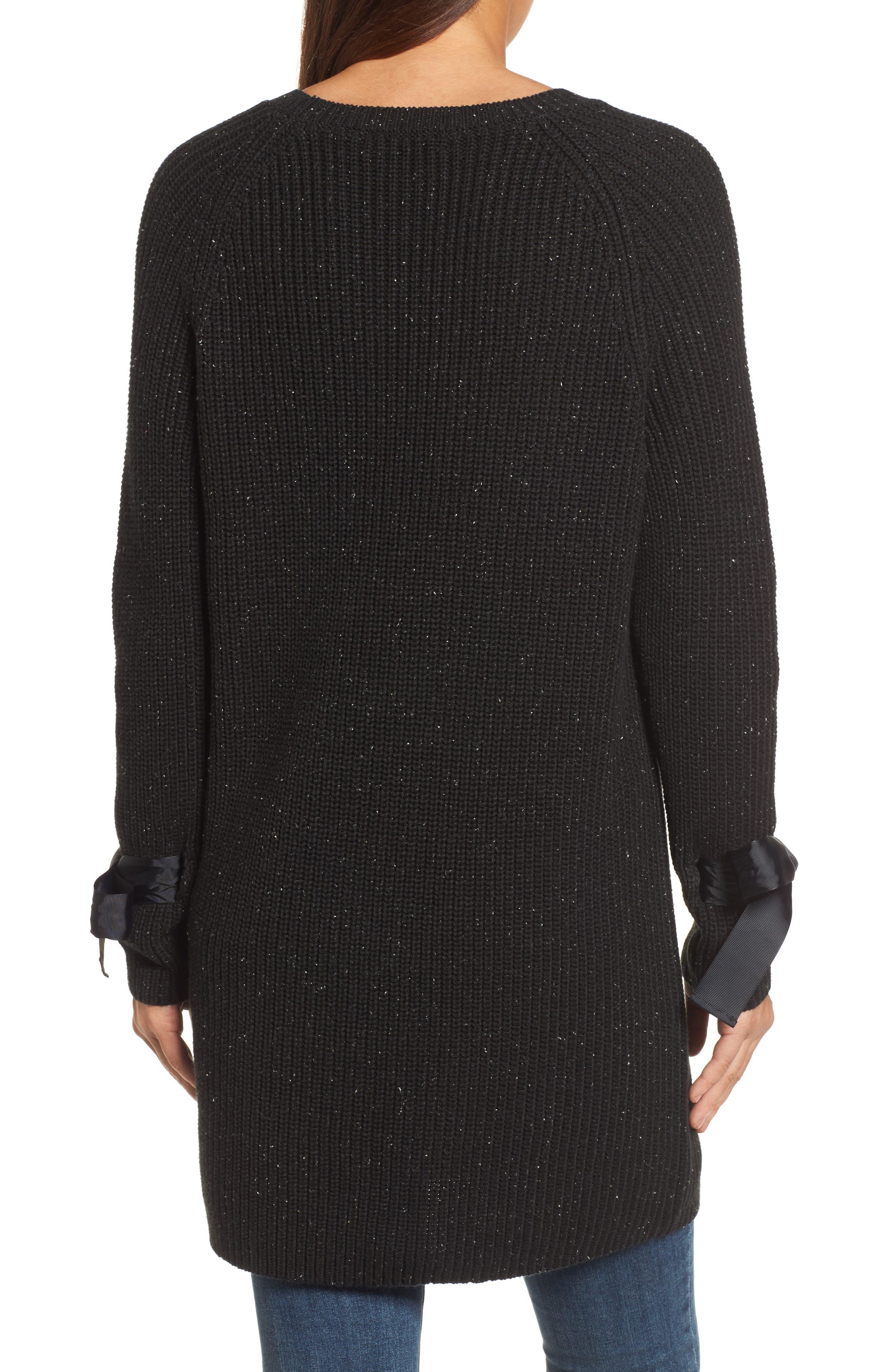 Bow Sleeve Tunic,                             Alternate thumbnail 2, color,                             Black Nep Pattern