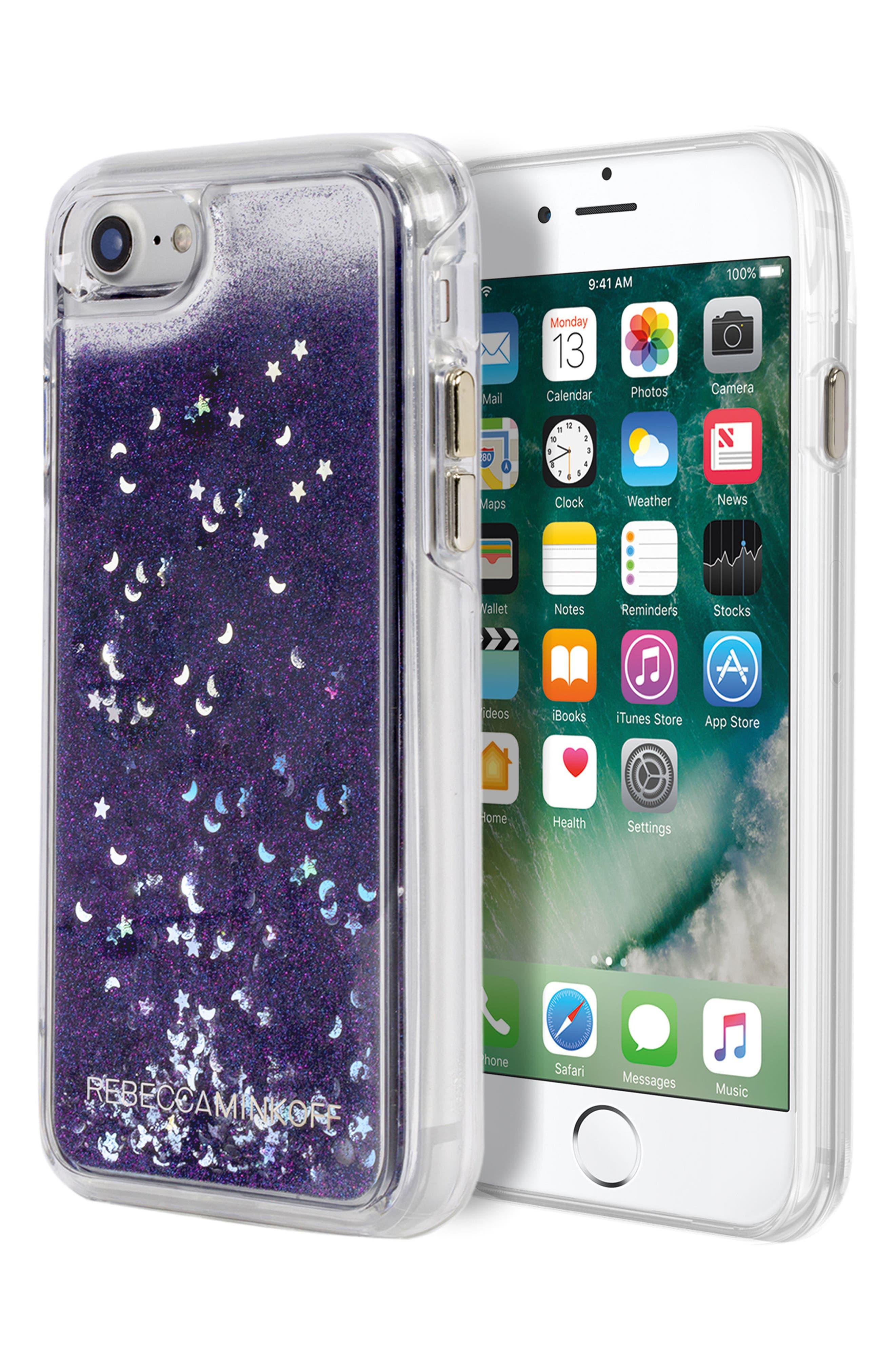 Galaxy Glitter iPhone 7/8 & 7/8 Plus Case,                             Alternate thumbnail 2, color,                             Black Blue Glitter