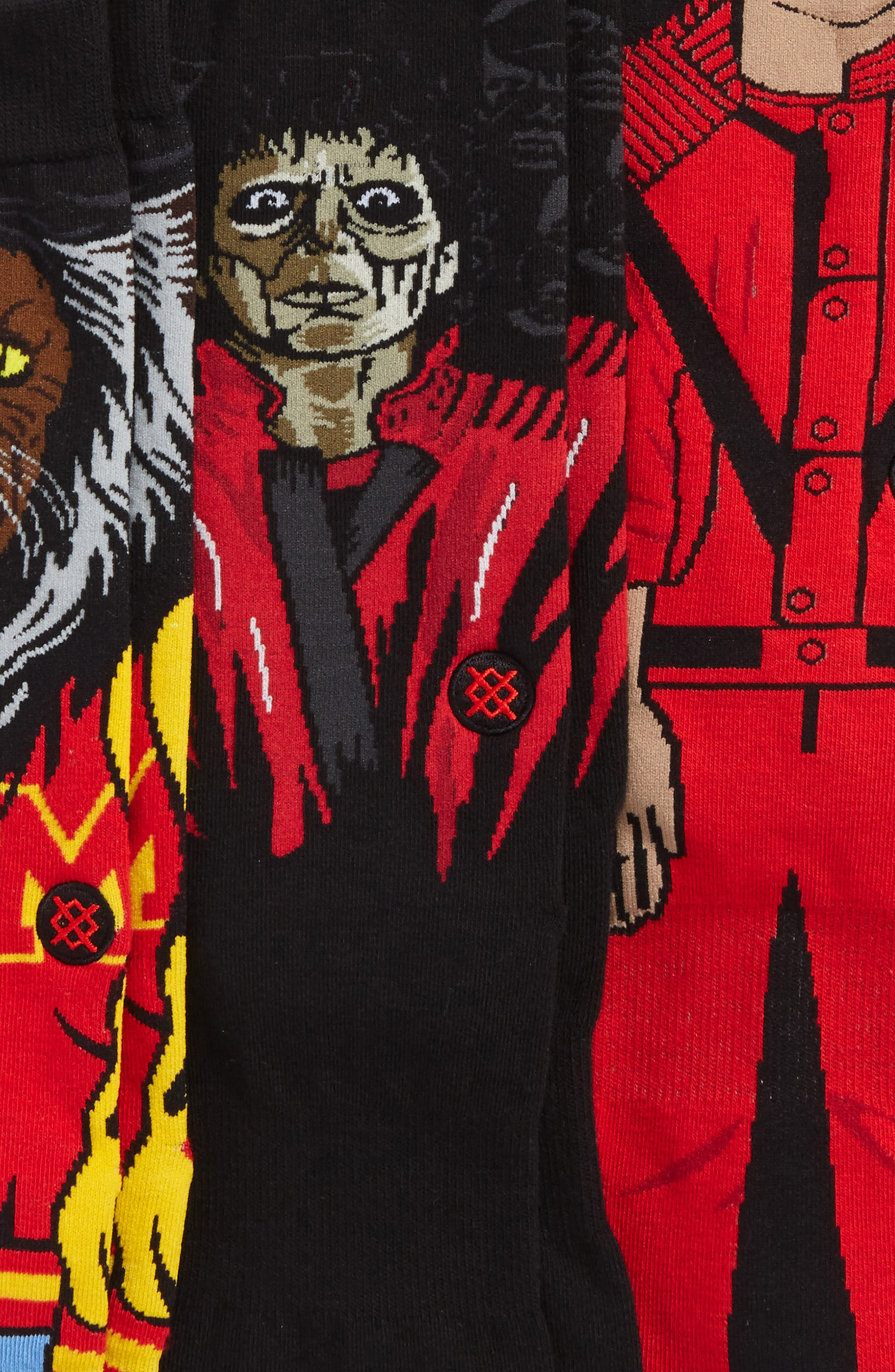 3-Pack Michael Jackson Thriller Socks,                             Alternate thumbnail 2, color,                             Red Multi