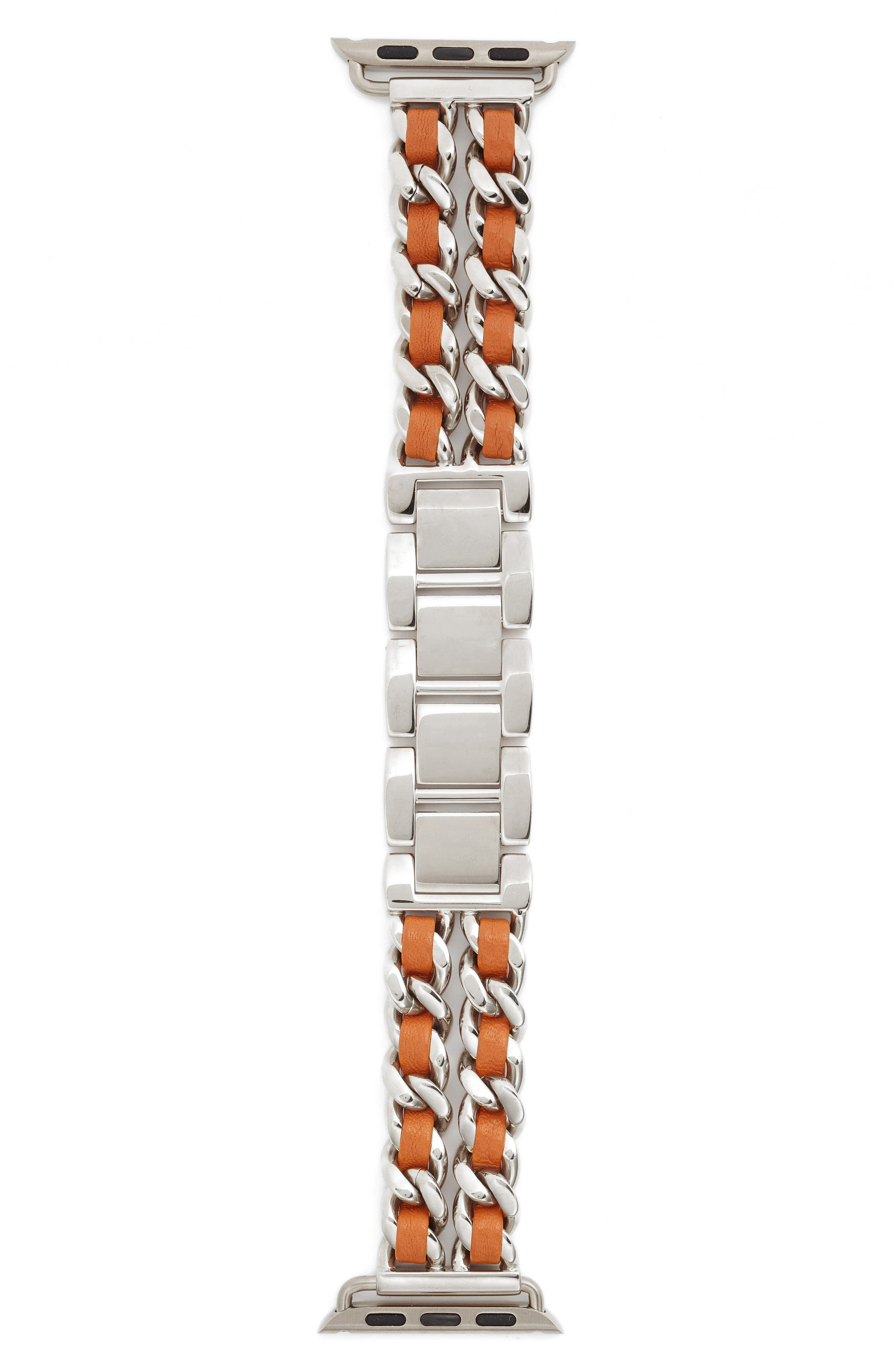 Chainlink Bracelet Apple Watch Band, 42mm,                             Alternate thumbnail 2, color,                             Silver/ Brown