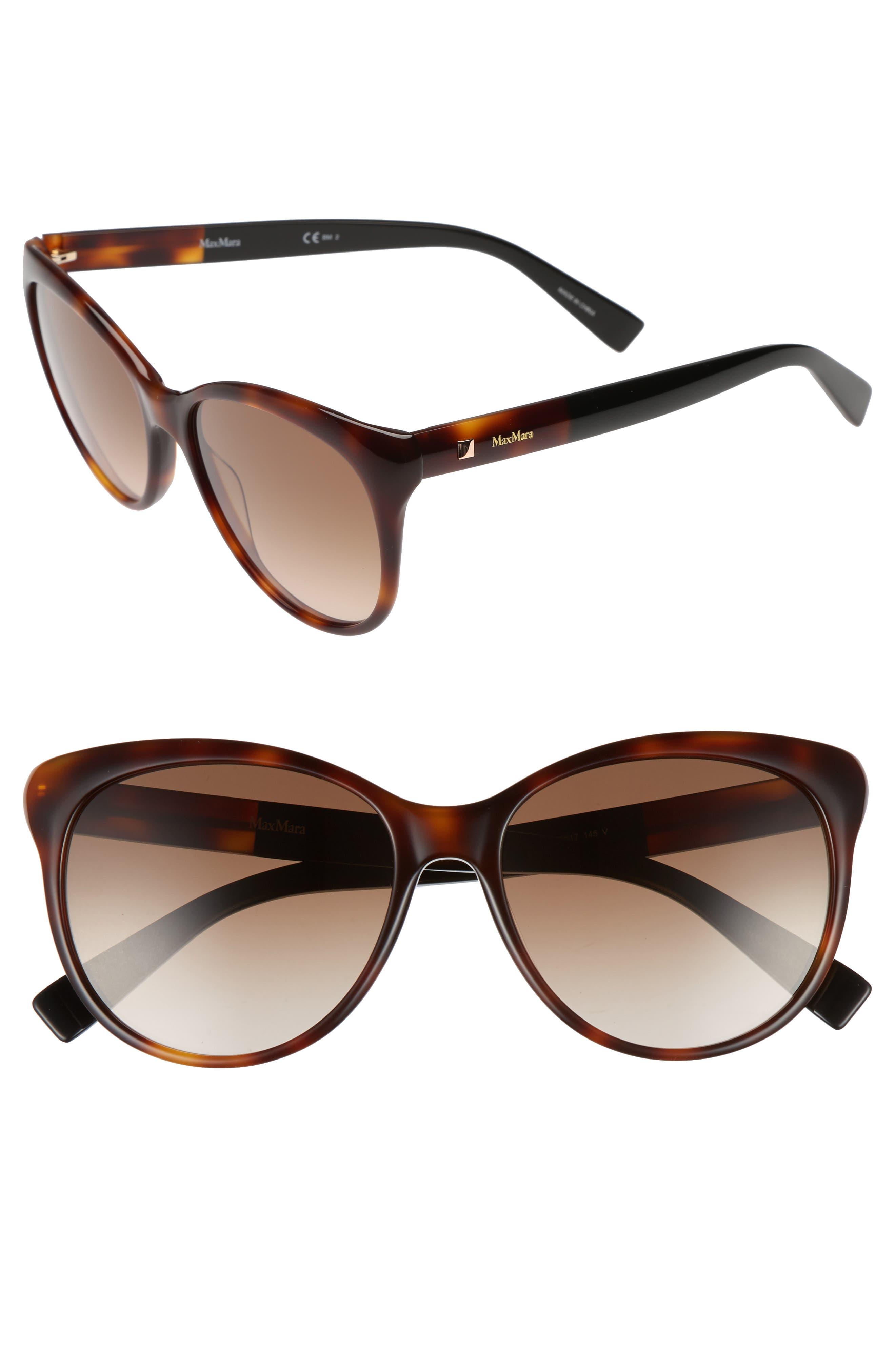 Cosy 56mm Gradient Cat Eye Sunglasses,                         Main,                         color, Dark Havana