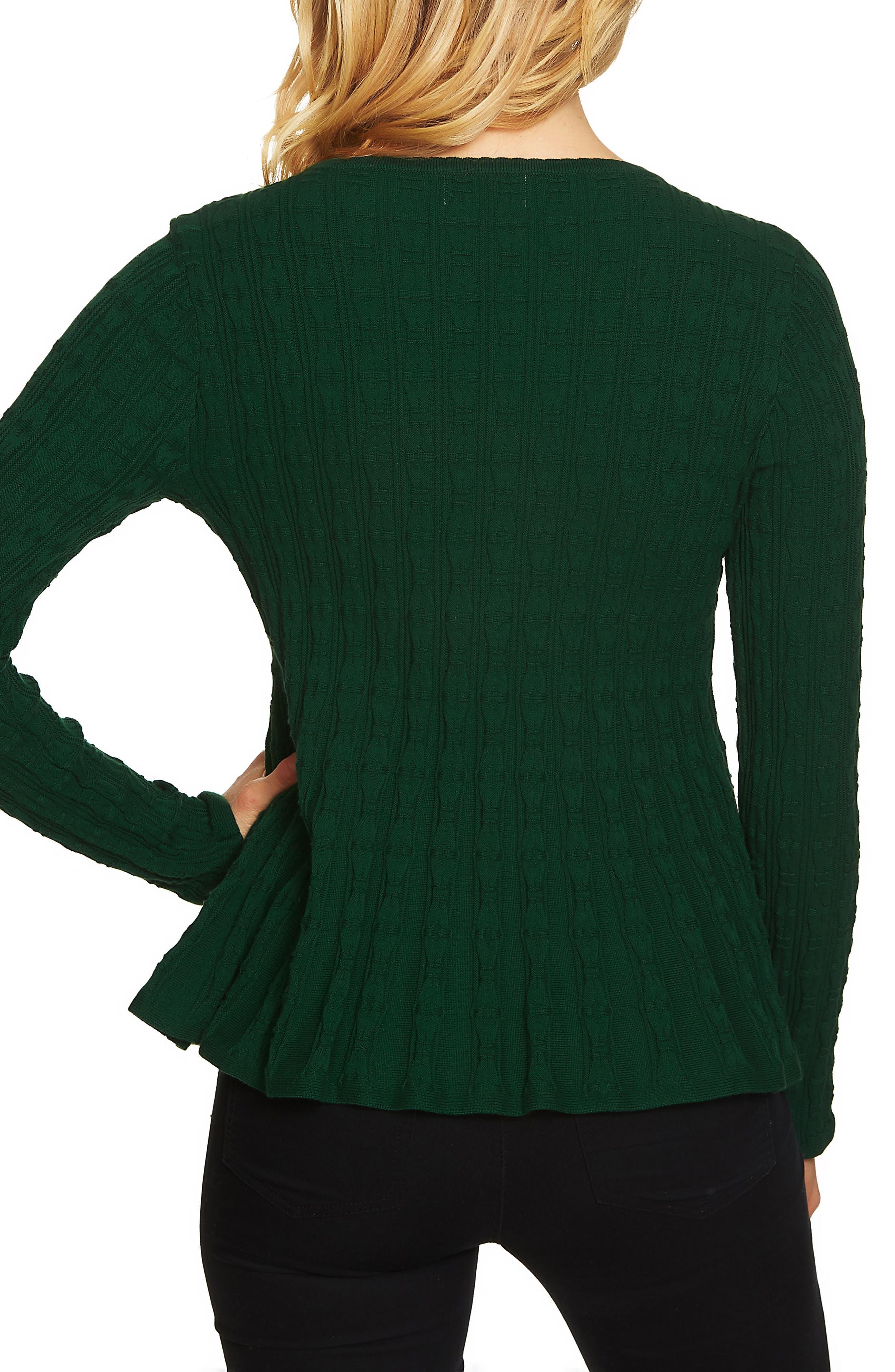 Textured Peplum Sweater,                             Alternate thumbnail 2, color,                             Deep Green