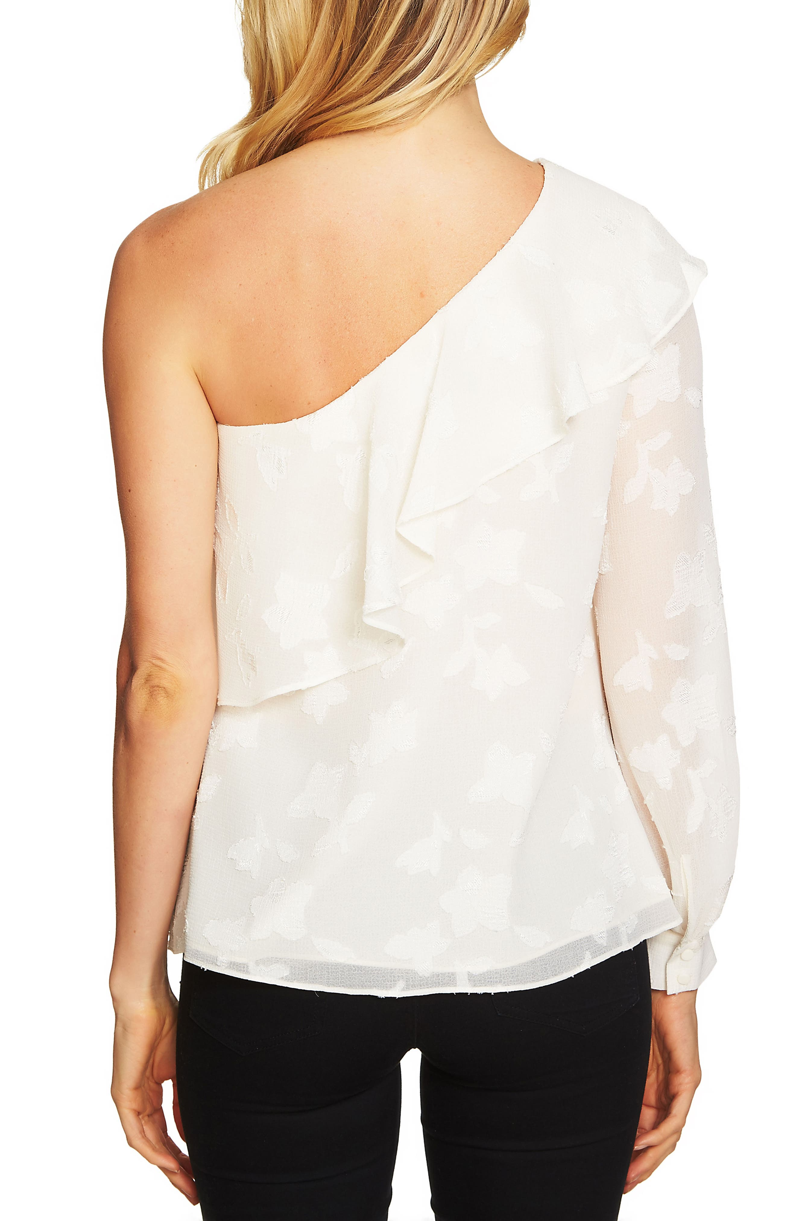Ruffled One-Shoulder Top,                             Alternate thumbnail 2, color,                             Antique White