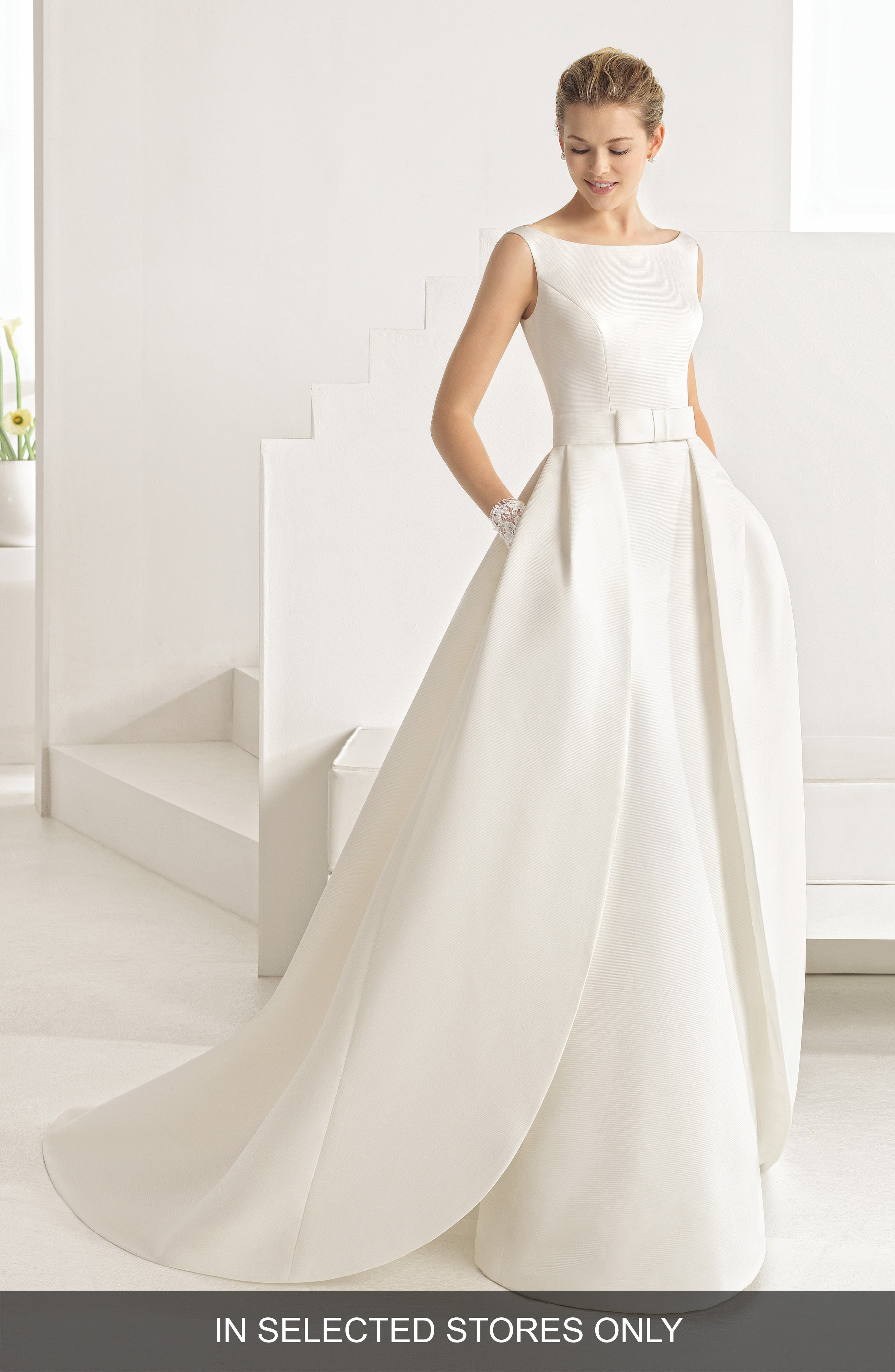 Oria Bateau Neck Gown with Overskirt,                         Main,                         color, Natural