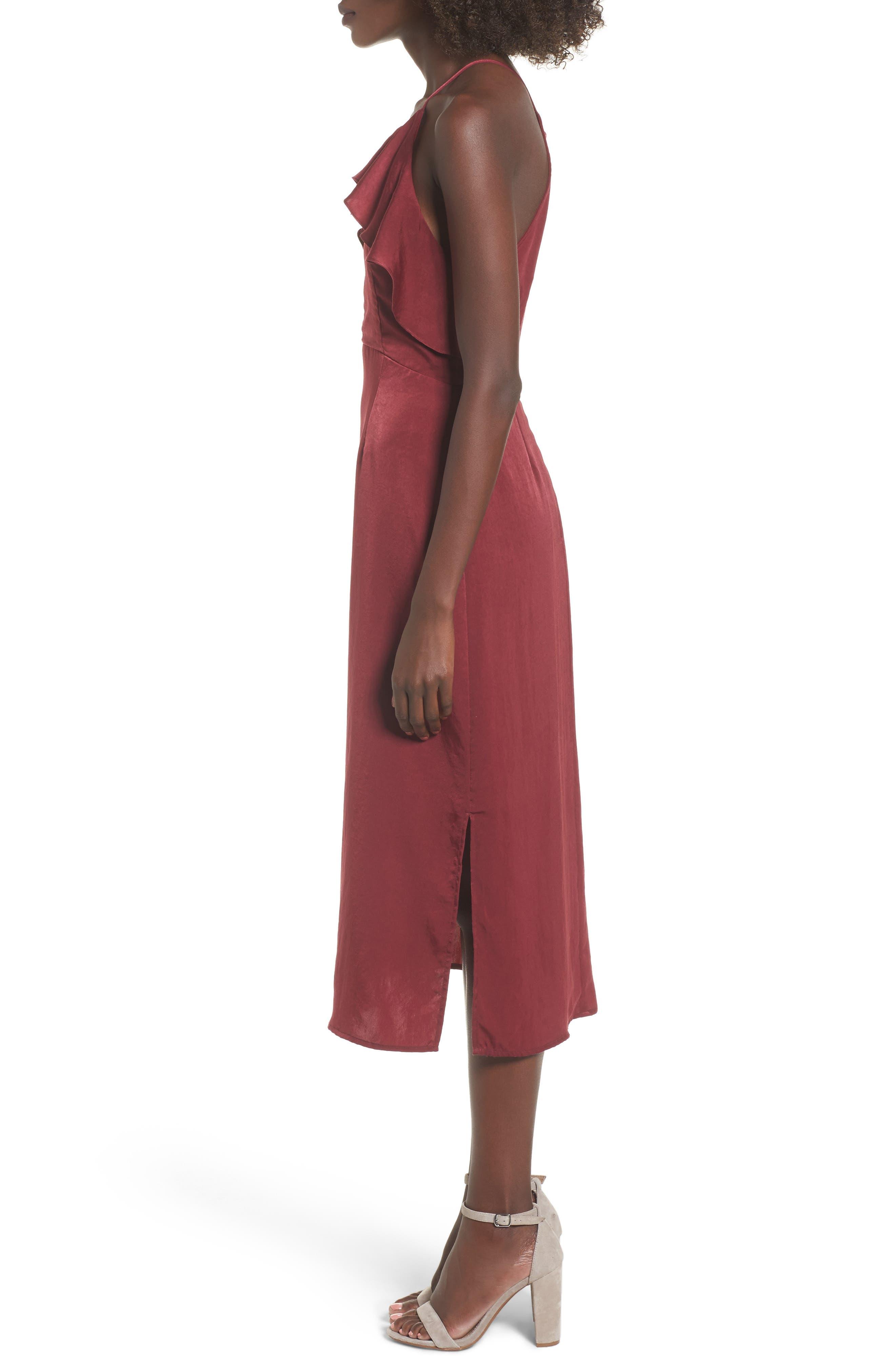 Ruffle Neck Satin Midi Dress,                             Alternate thumbnail 3, color,                             Burgundy