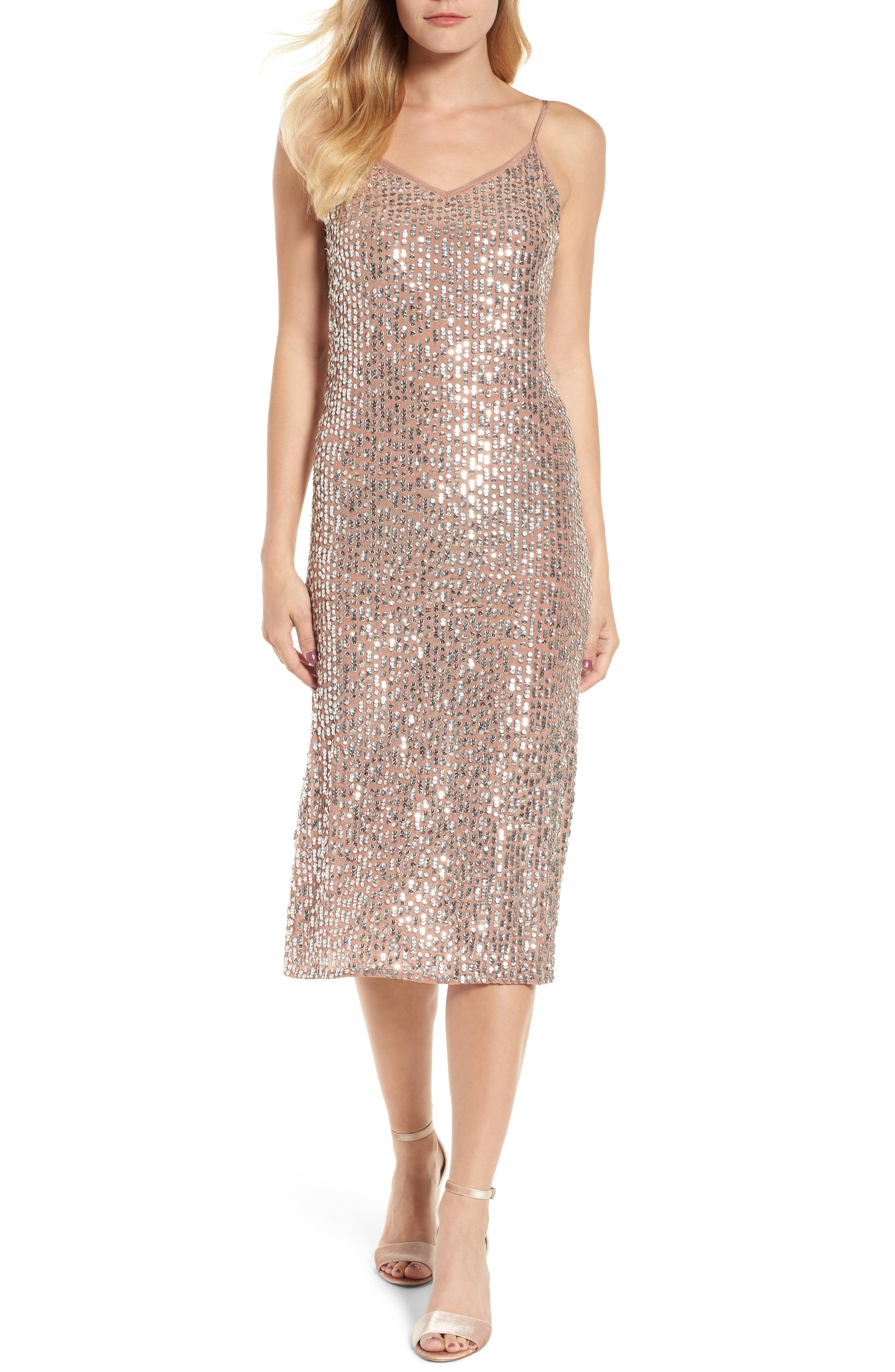 Sequin Slipdress,                         Main,                         color, Deep Taupe
