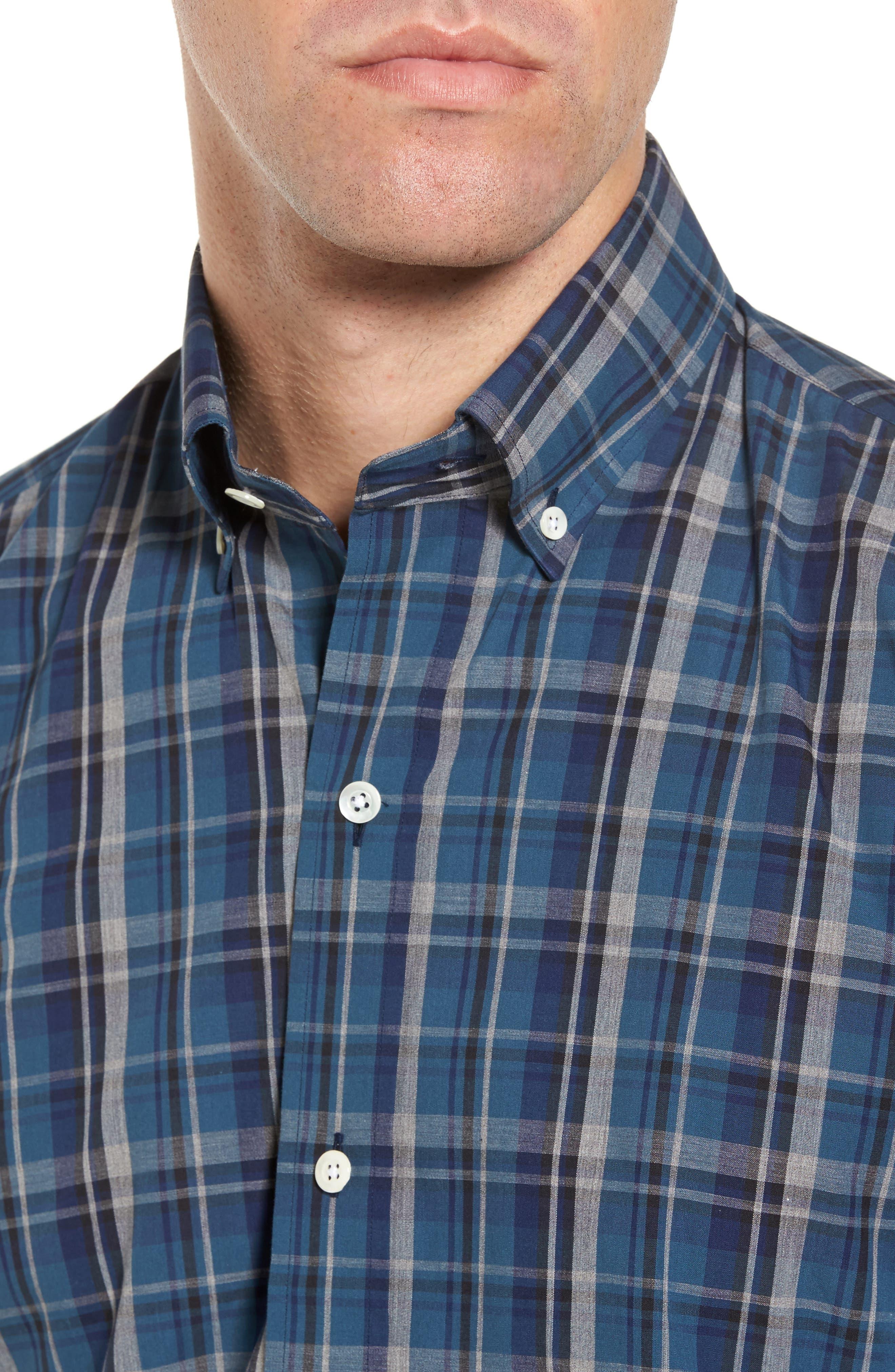 Slim Fit Plaid Sport Shirt,                             Alternate thumbnail 4, color,                             Dark Blue