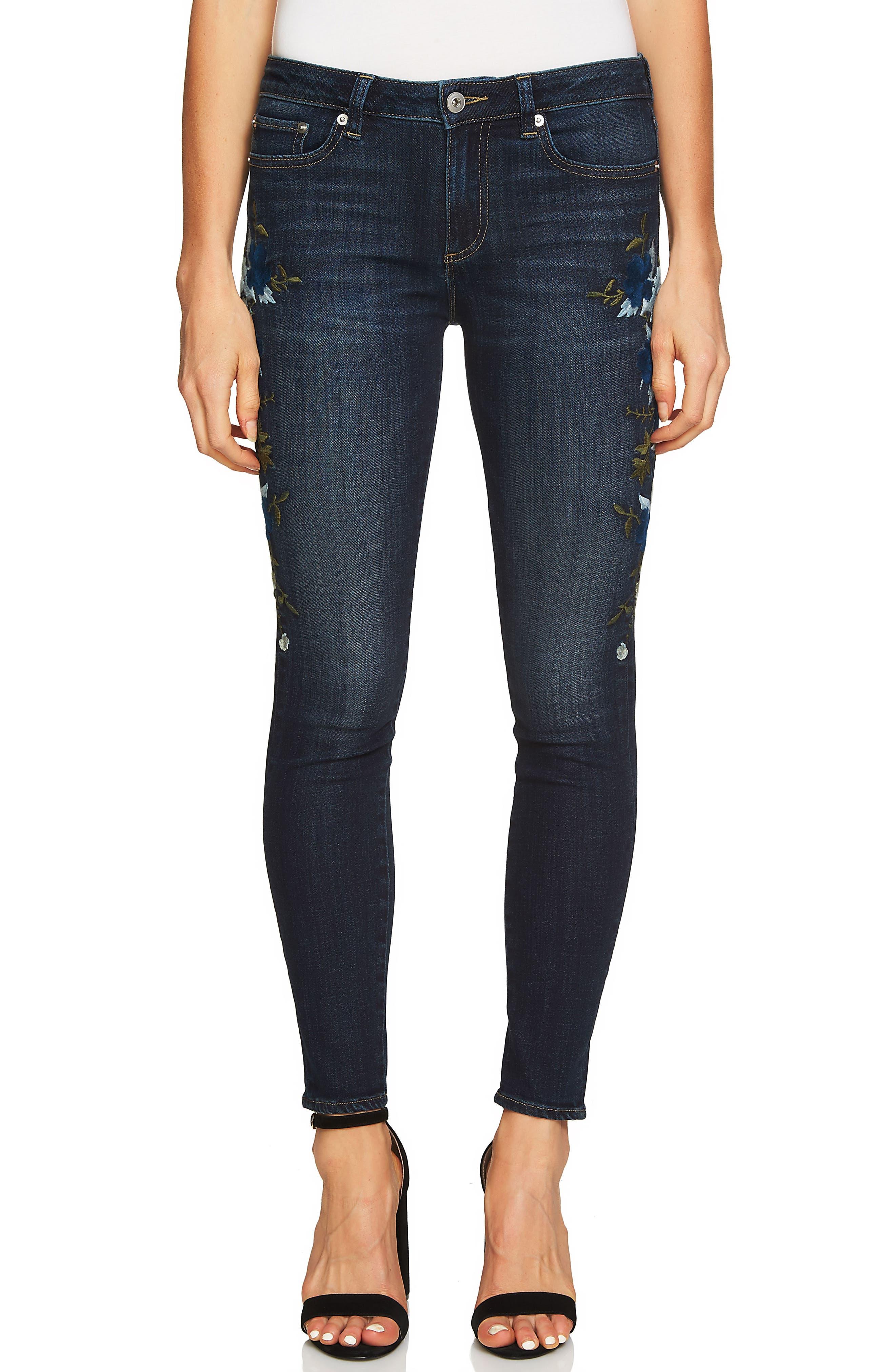 Indigo Denim Floral Embroidered Jeans,                         Main,                         color, Dark Authentic Blue