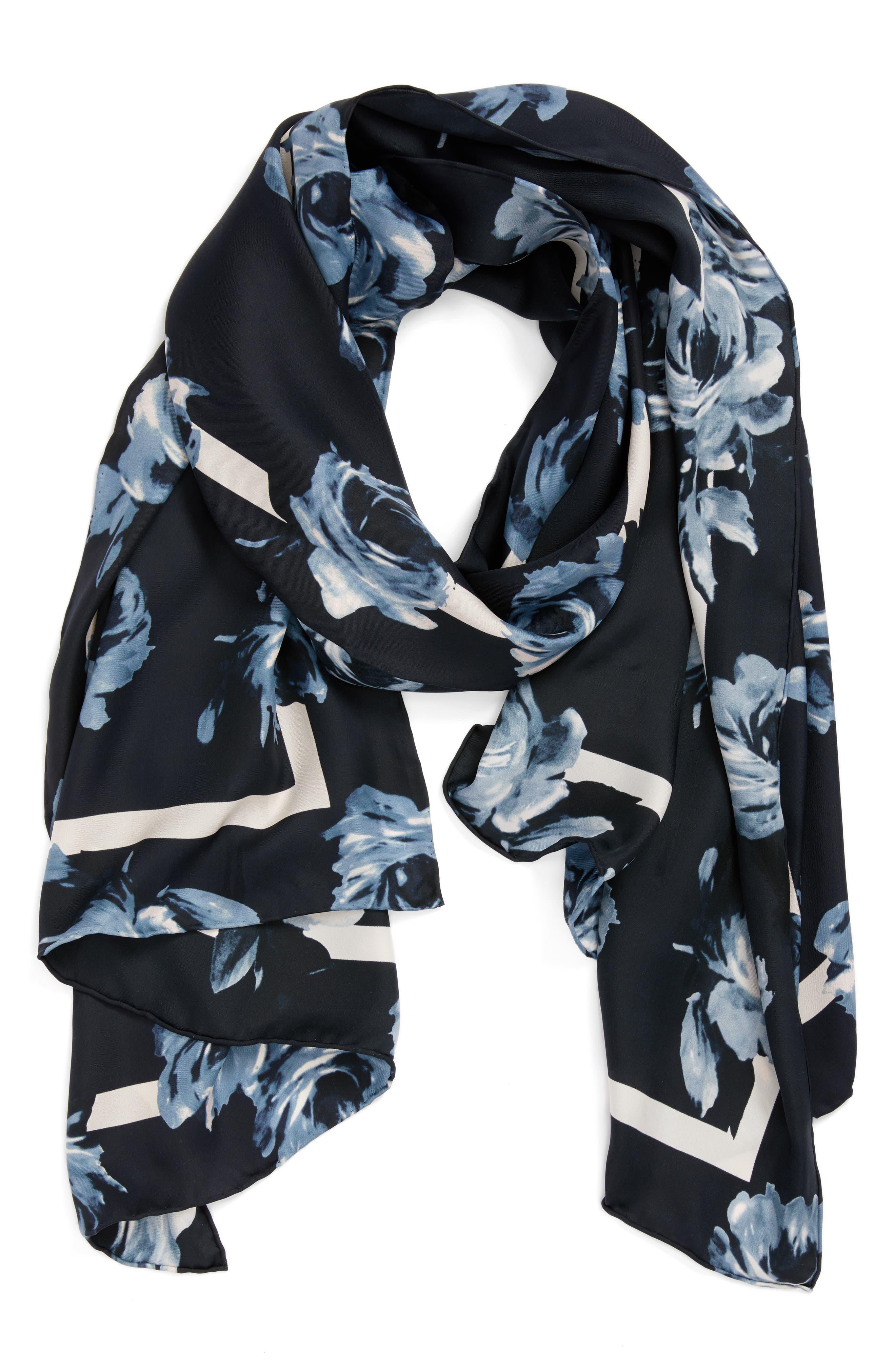 night rose silk oblong scarf,                             Alternate thumbnail 3, color,                             Rich Navy